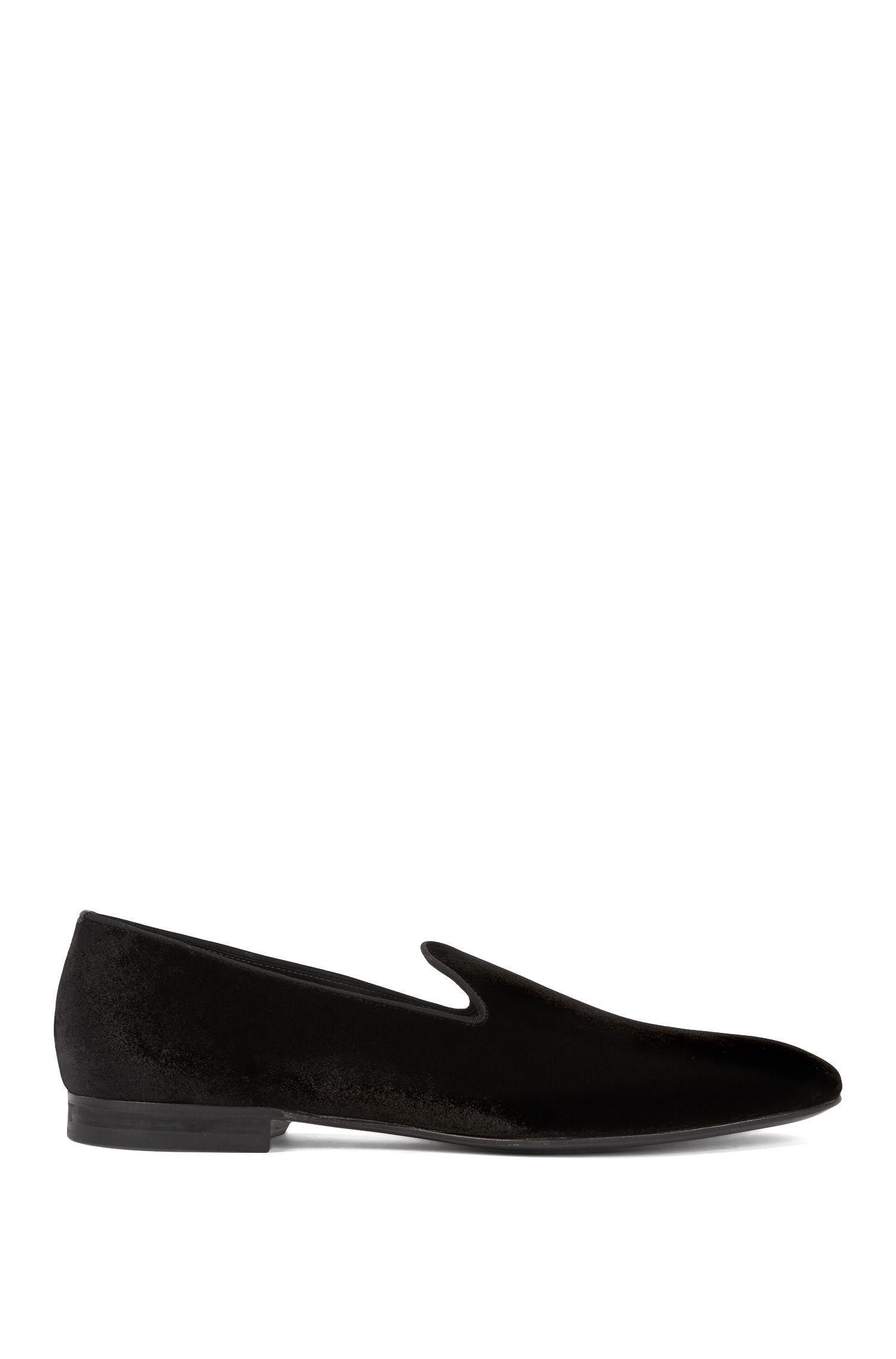 Slip-on evening shoes in dégradé velvet, Black