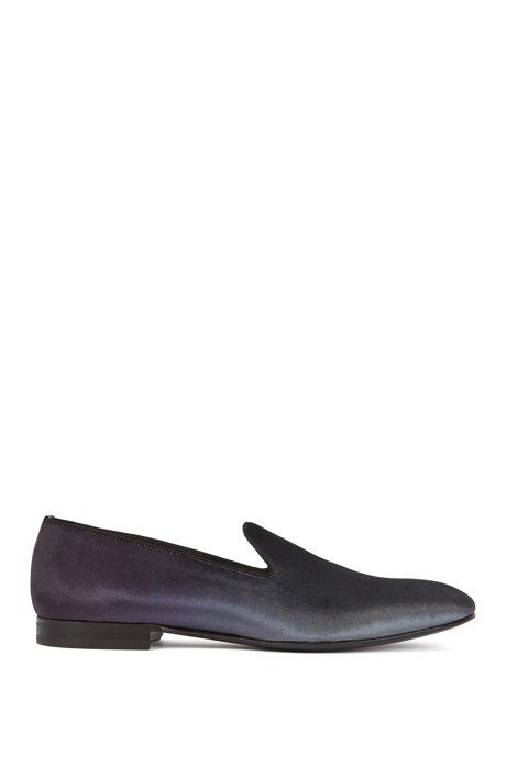 Slip-on evening shoes in dégradé velvet, Open Grey