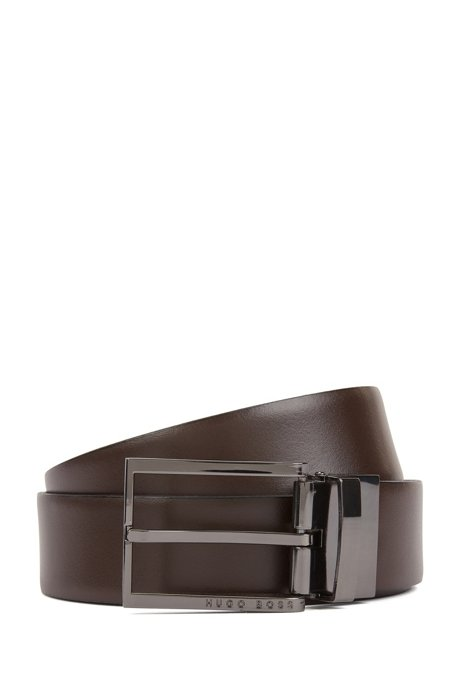 Gift-boxed reversible belt in smooth and embossed leather, Black