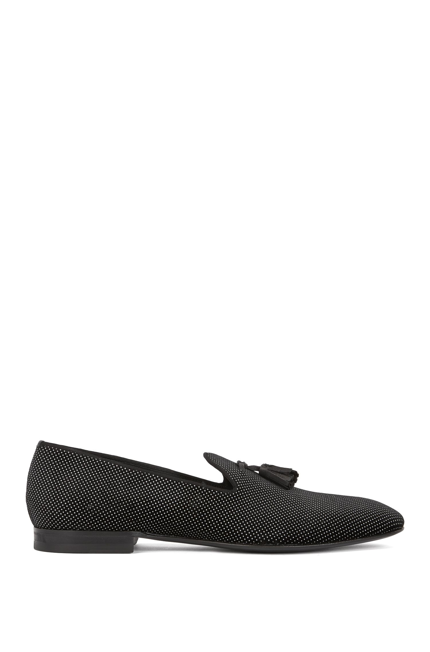 Slip-on evening shoes in Italian velvet, Black
