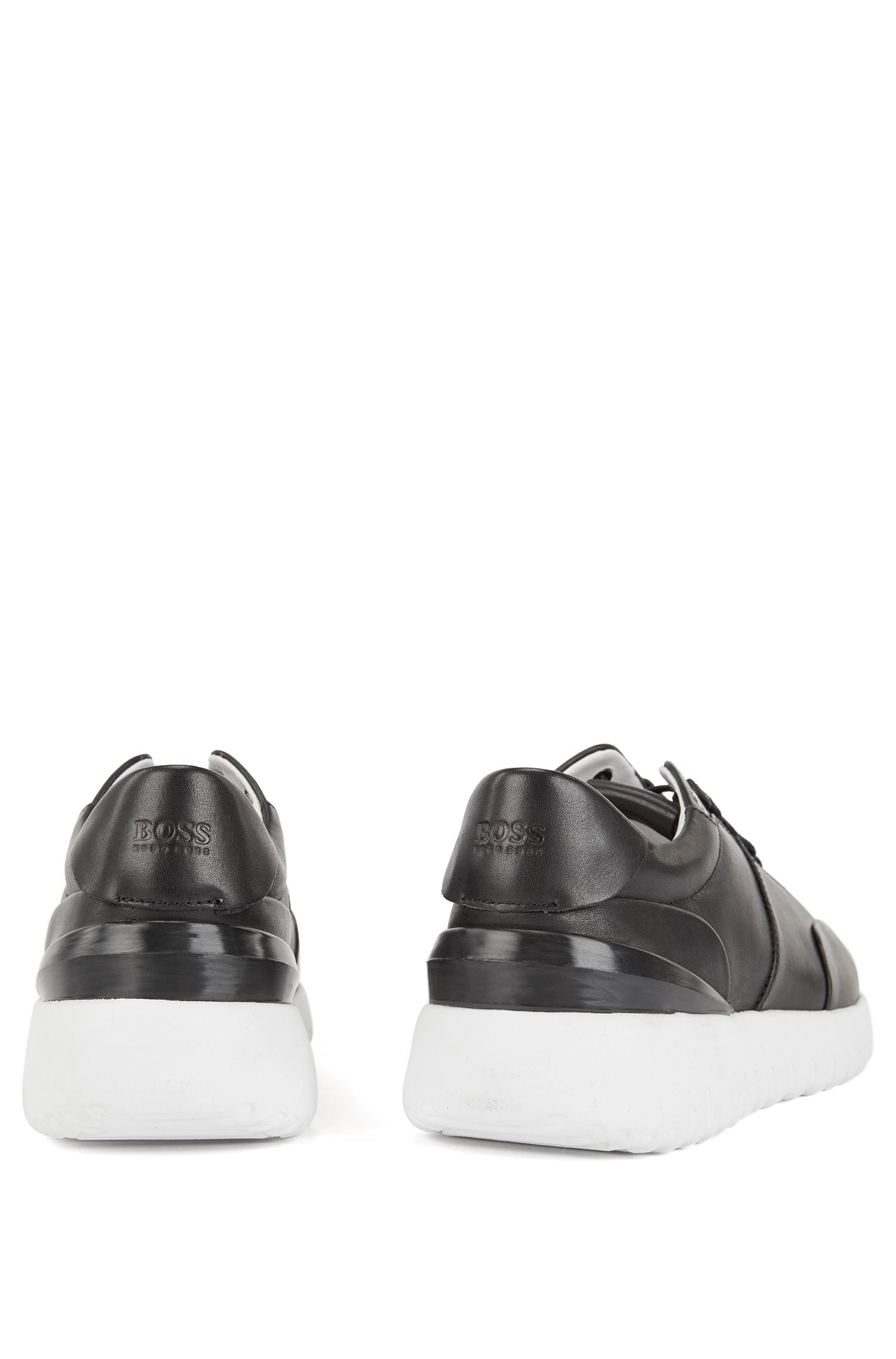 Leather sneakers with pumped-up outsole, Black