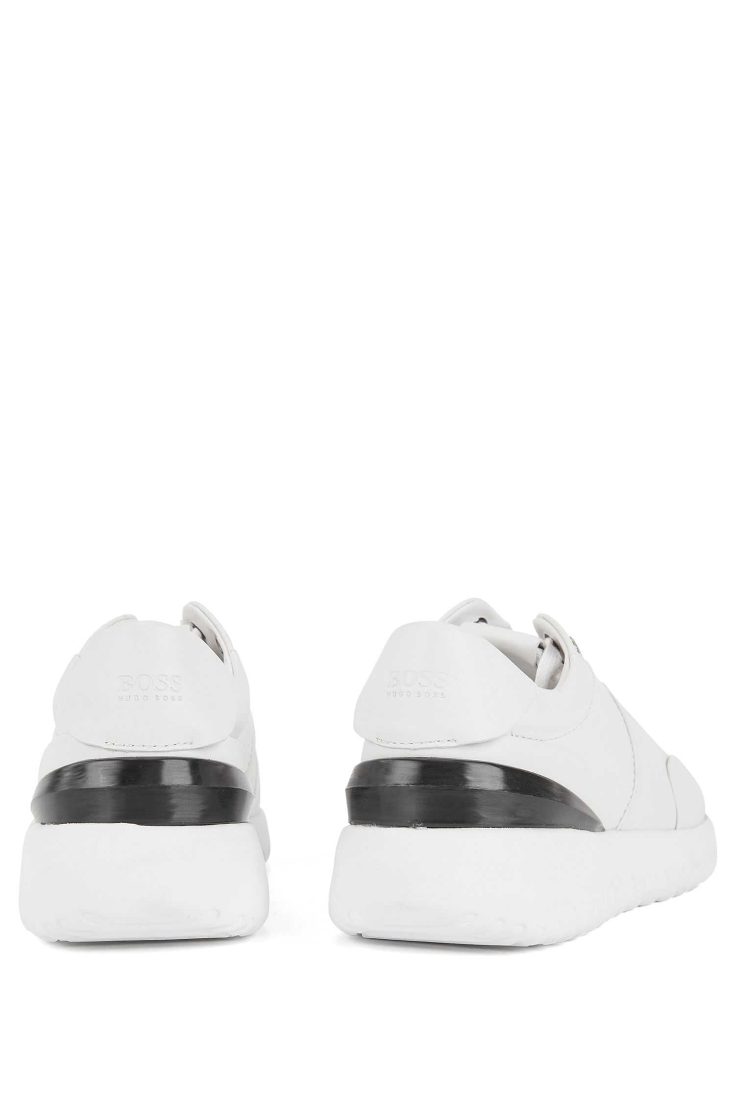 Leather sneakers with pumped-up outsole, White