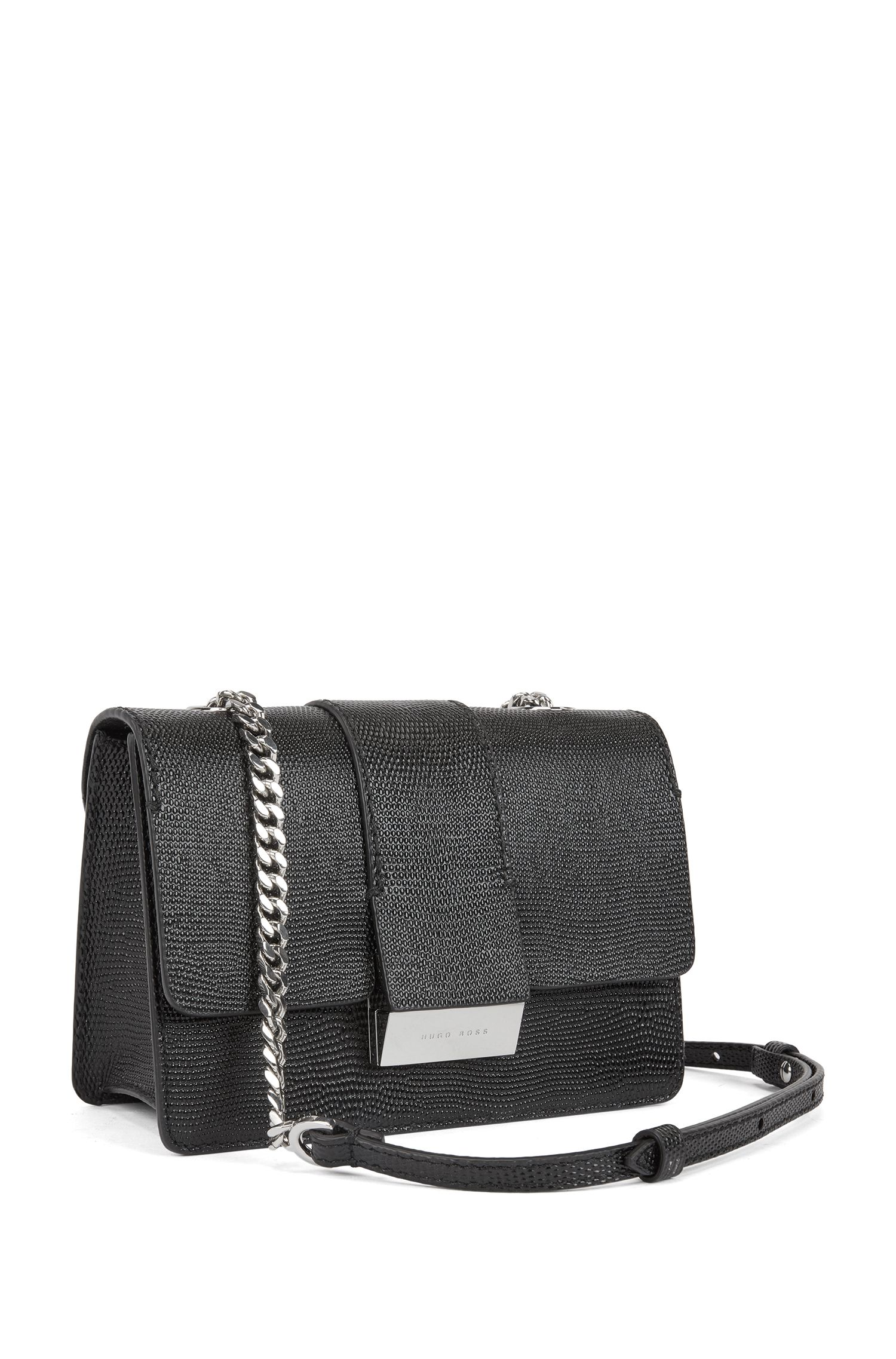 Crossbody bag in lizard-print calf leather, Black