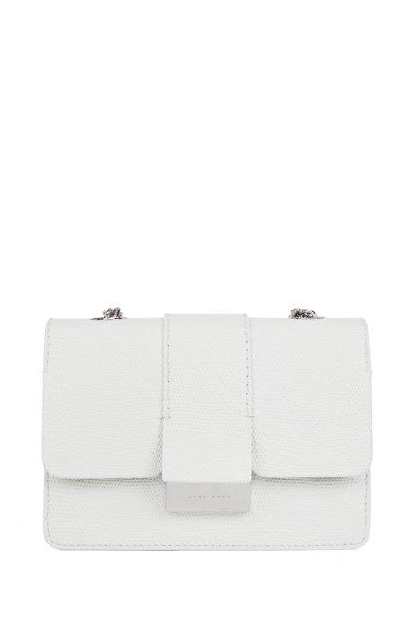 Crossbody bag in lizard-print calf leather, White