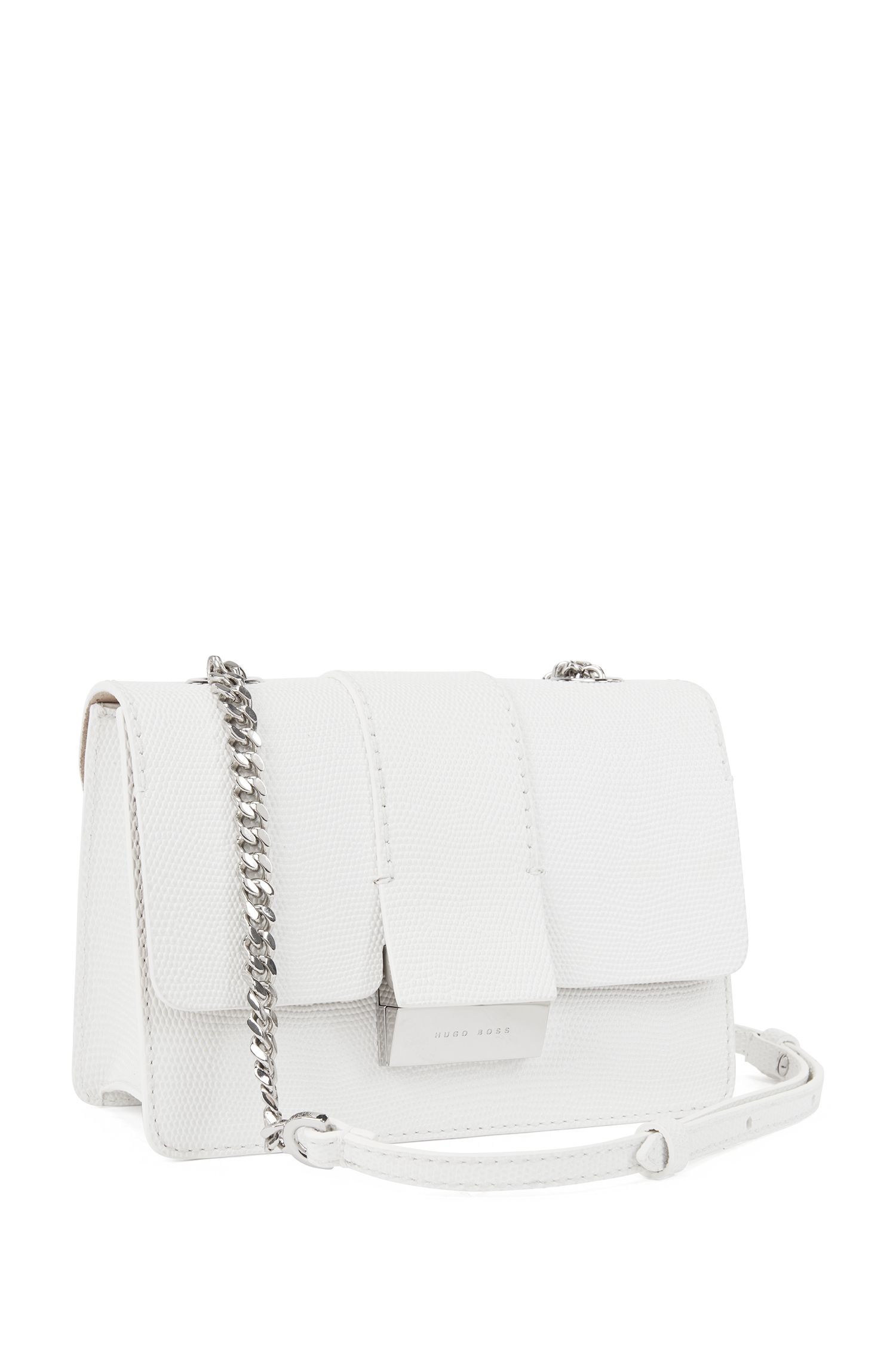 Crossbody bag in lizard-print calf leather, White