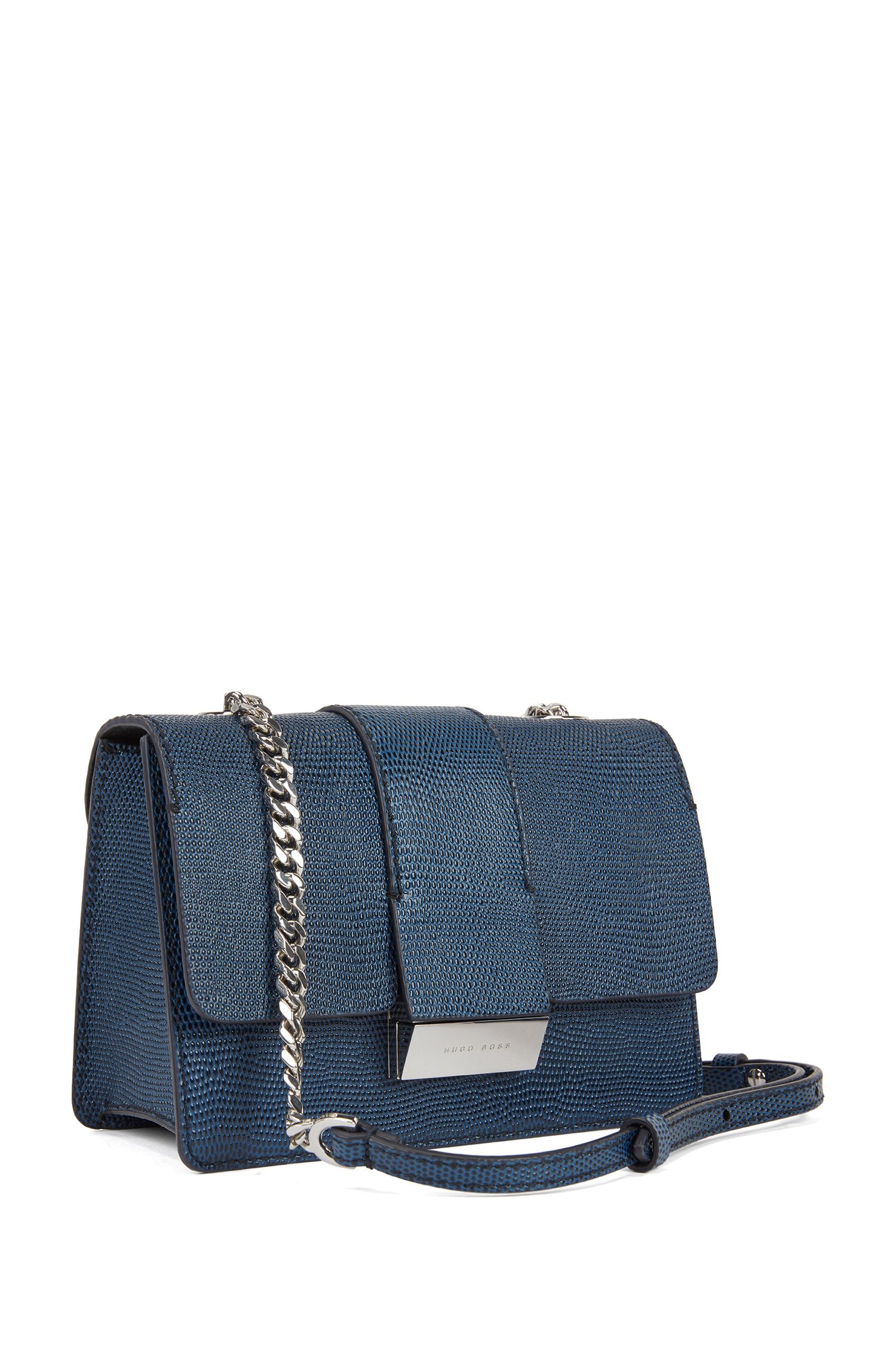 Crossbody bag in lizard-print calf leather, Dark Blue