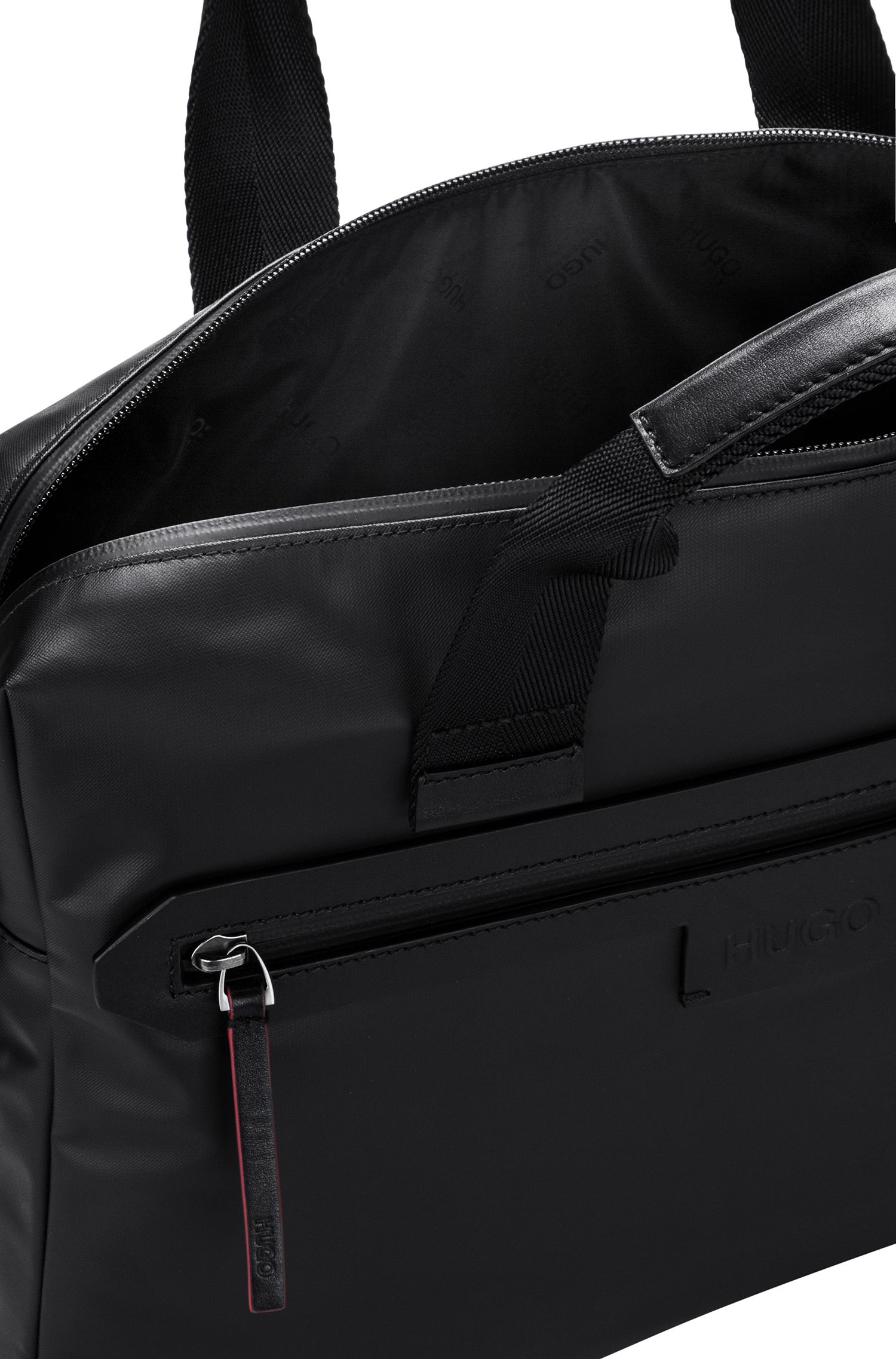 One-way document case in coated nylon with signature trims, Black