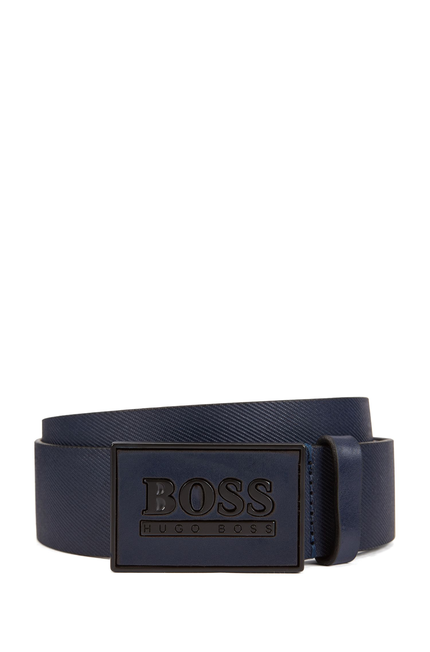 Embossed belt in smooth leather with logo plaque, Dark Blue