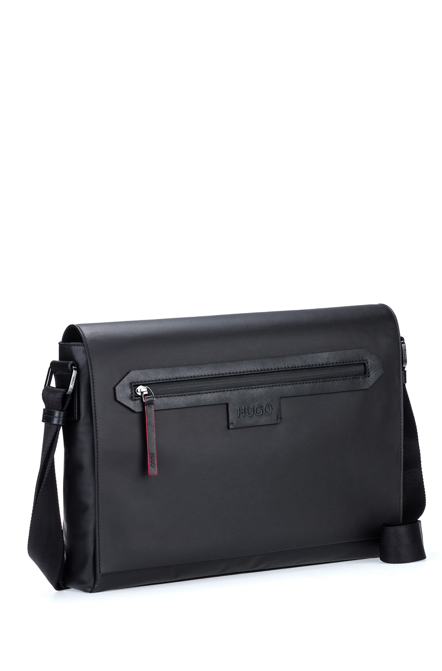 Messenger bag in coated nylon with leather trims, Black