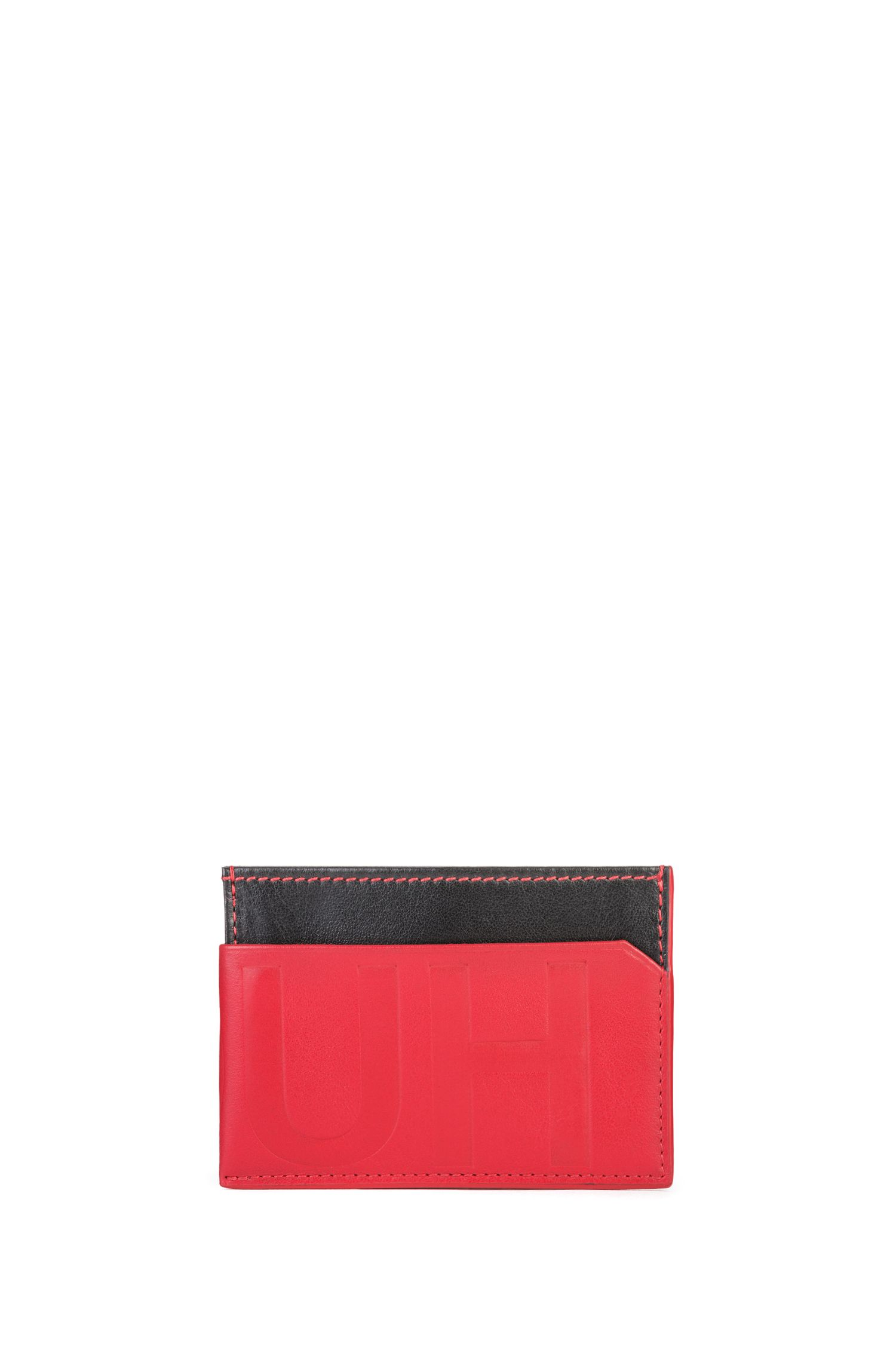 Reverse-logo card case in contrasting leather, Black