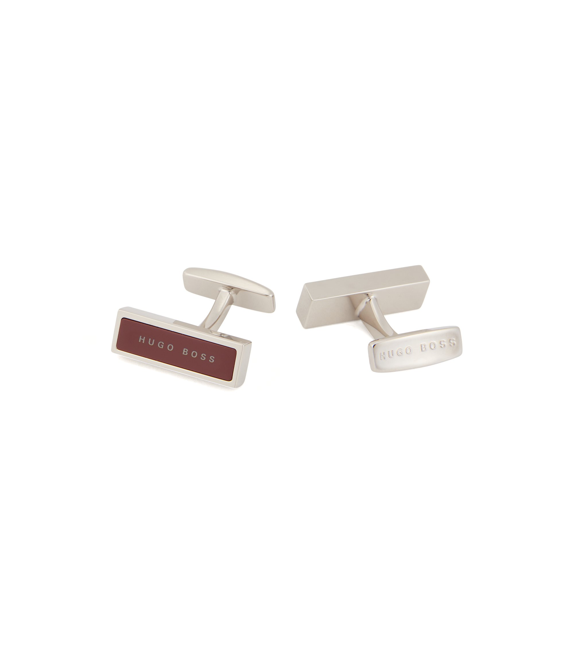 Rectangular cufflinks with logo-detailed enamel inset, Dark Red