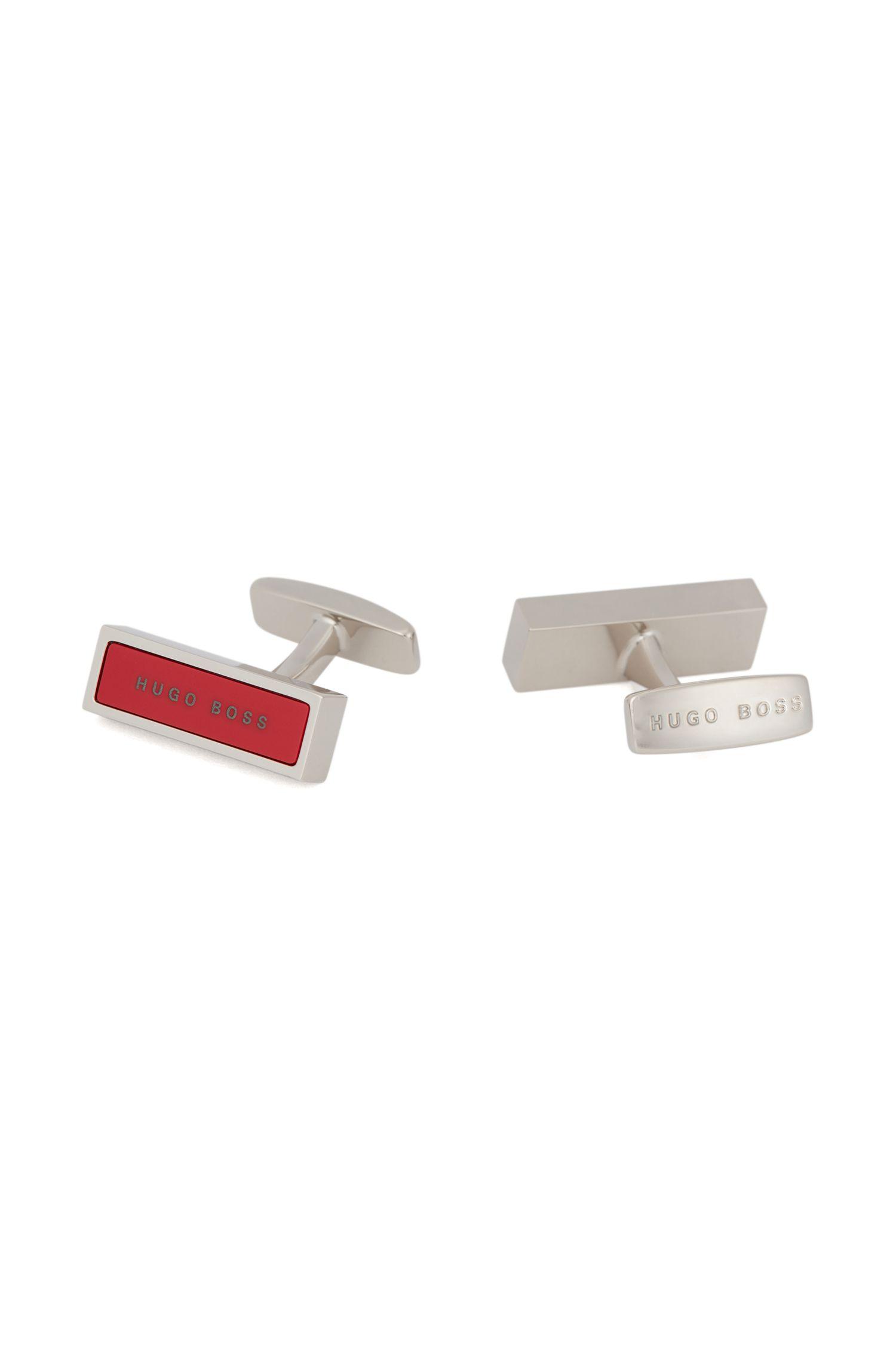 Rectangular cufflinks with logo-detailed enamel inset, Red