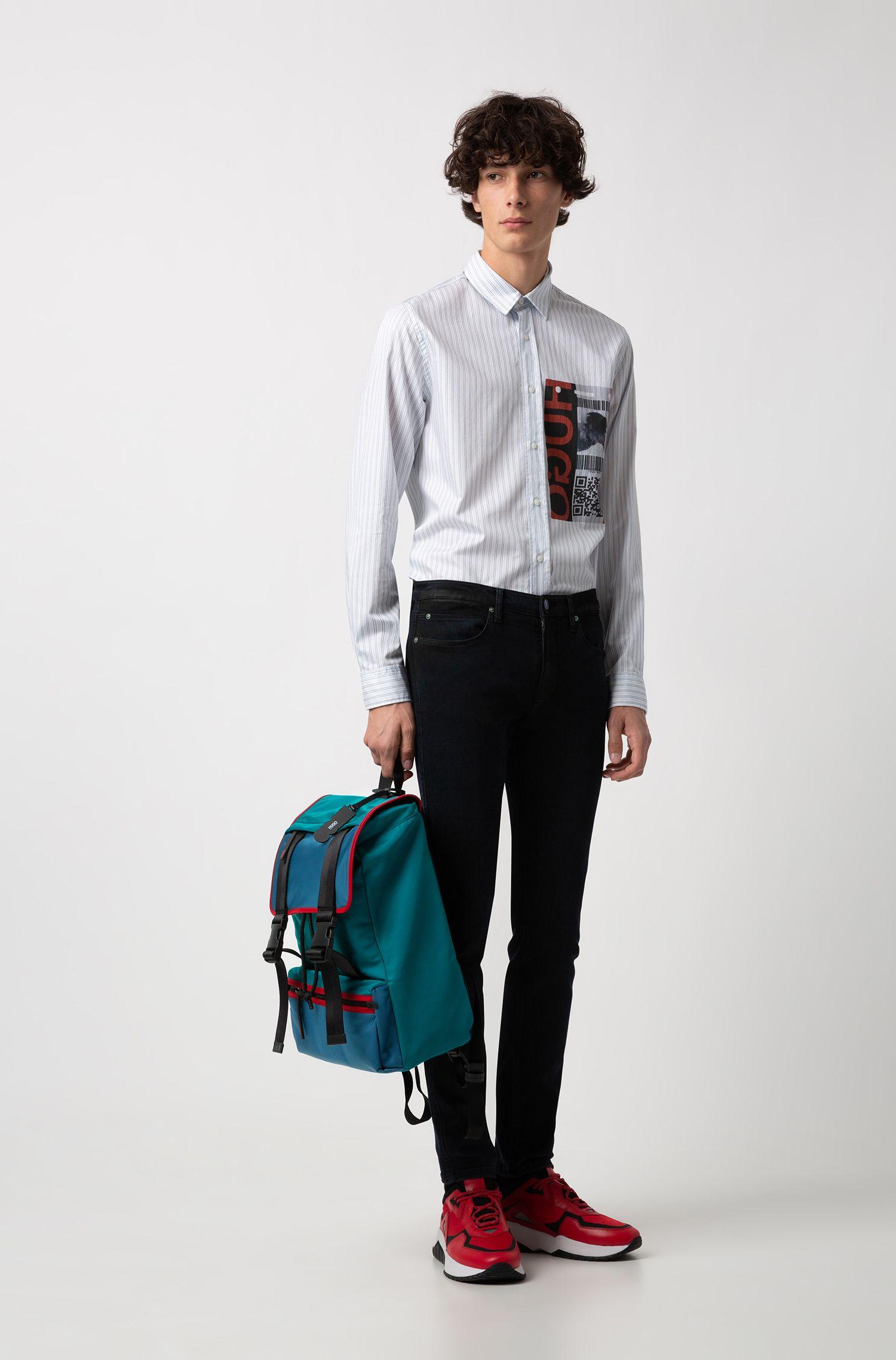 Nylon gabardine backpack with leather trims, Dark Green