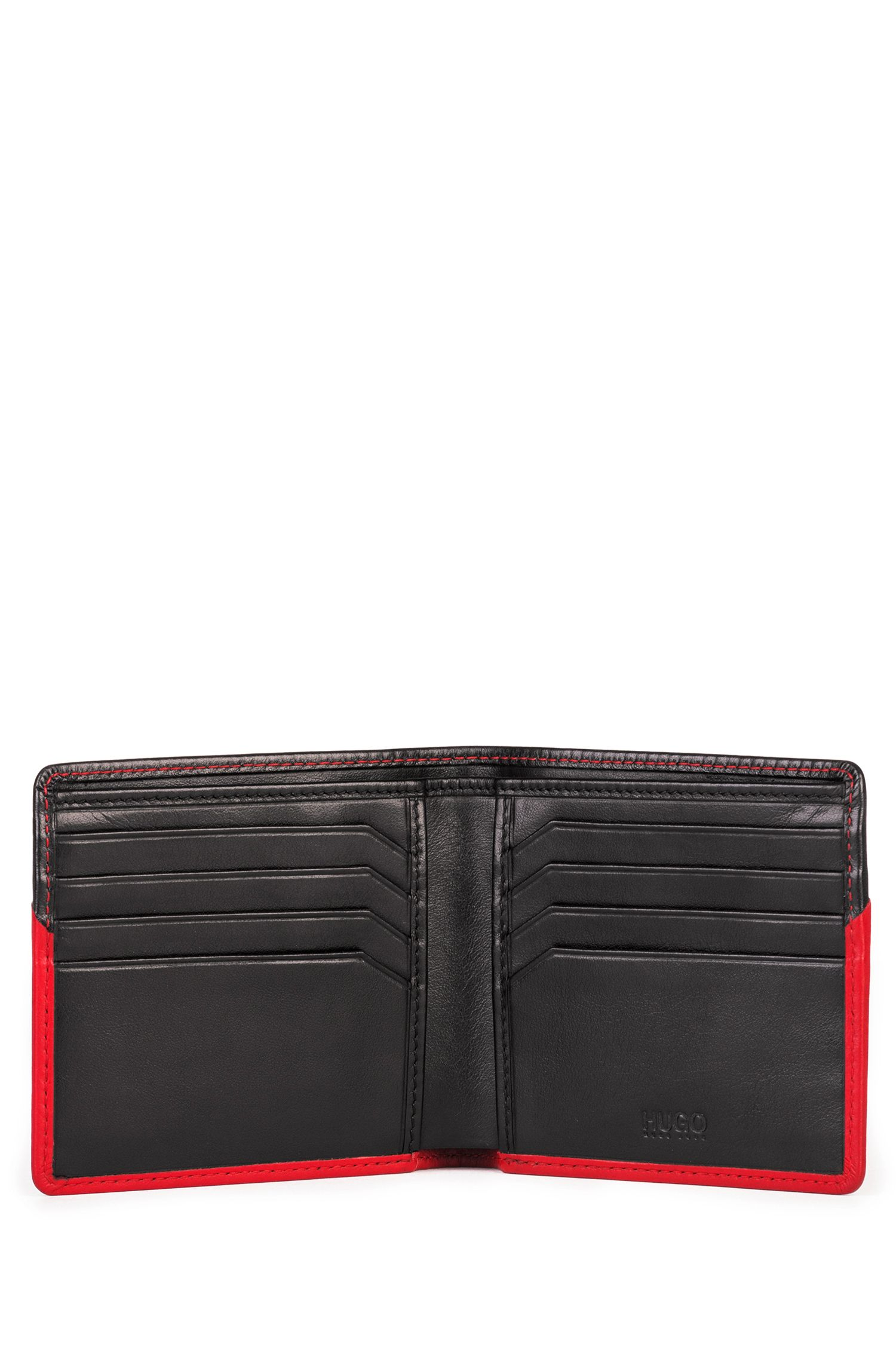 Two-tone billfold in leather with reverse logo, Black