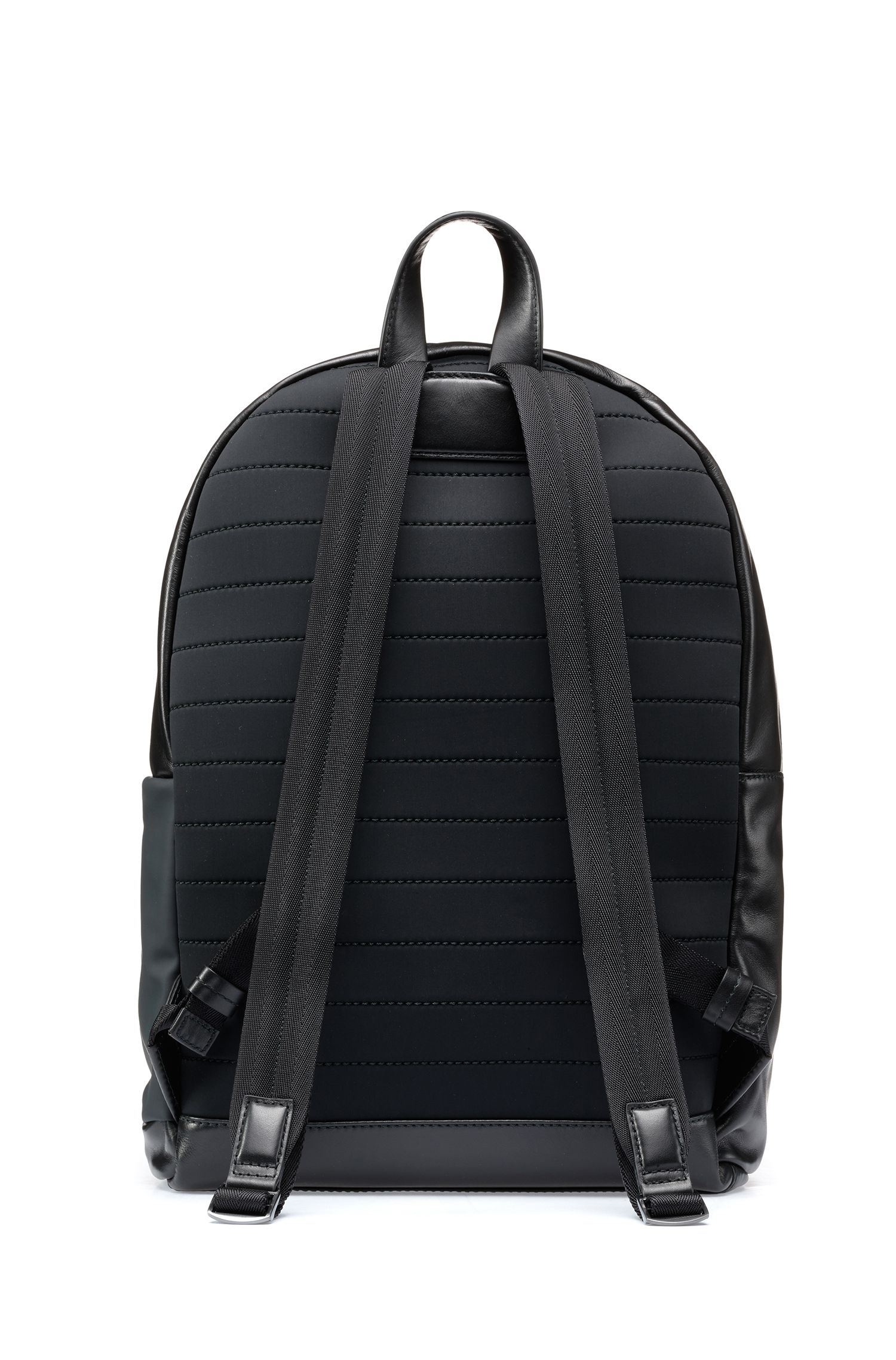 Leather backpack with logo-embossed fabric pocket, Black