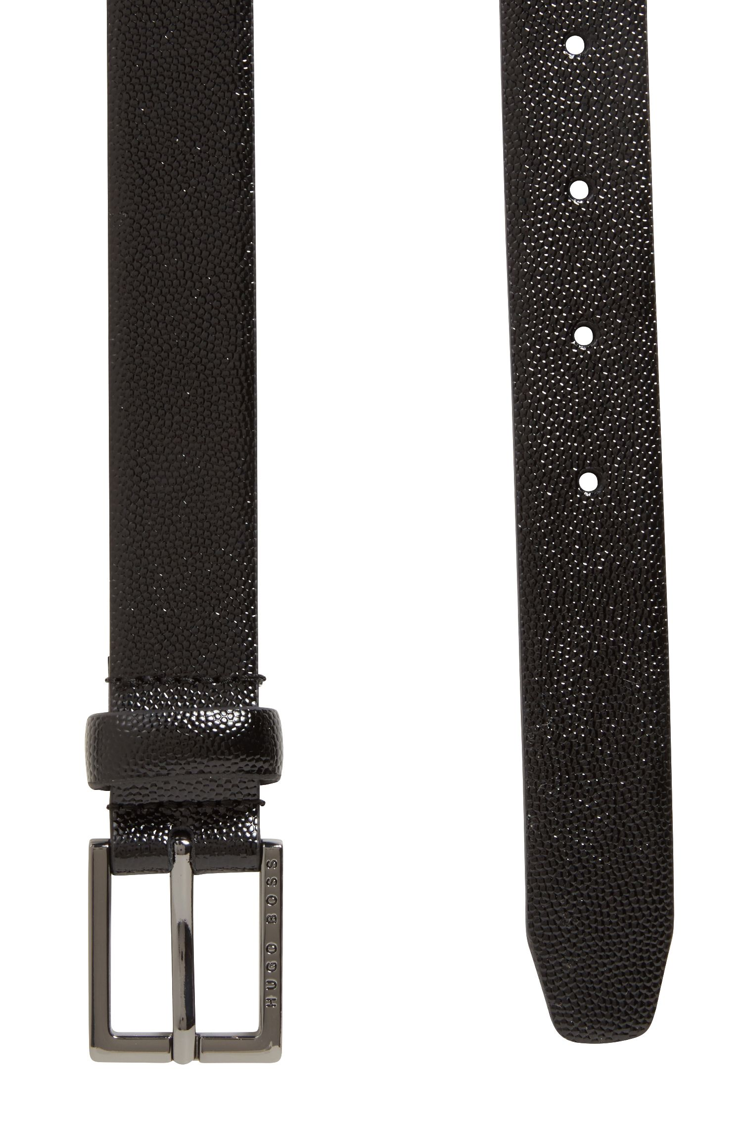 Patent calf-leather belt with Scotch-grain embossing, Black