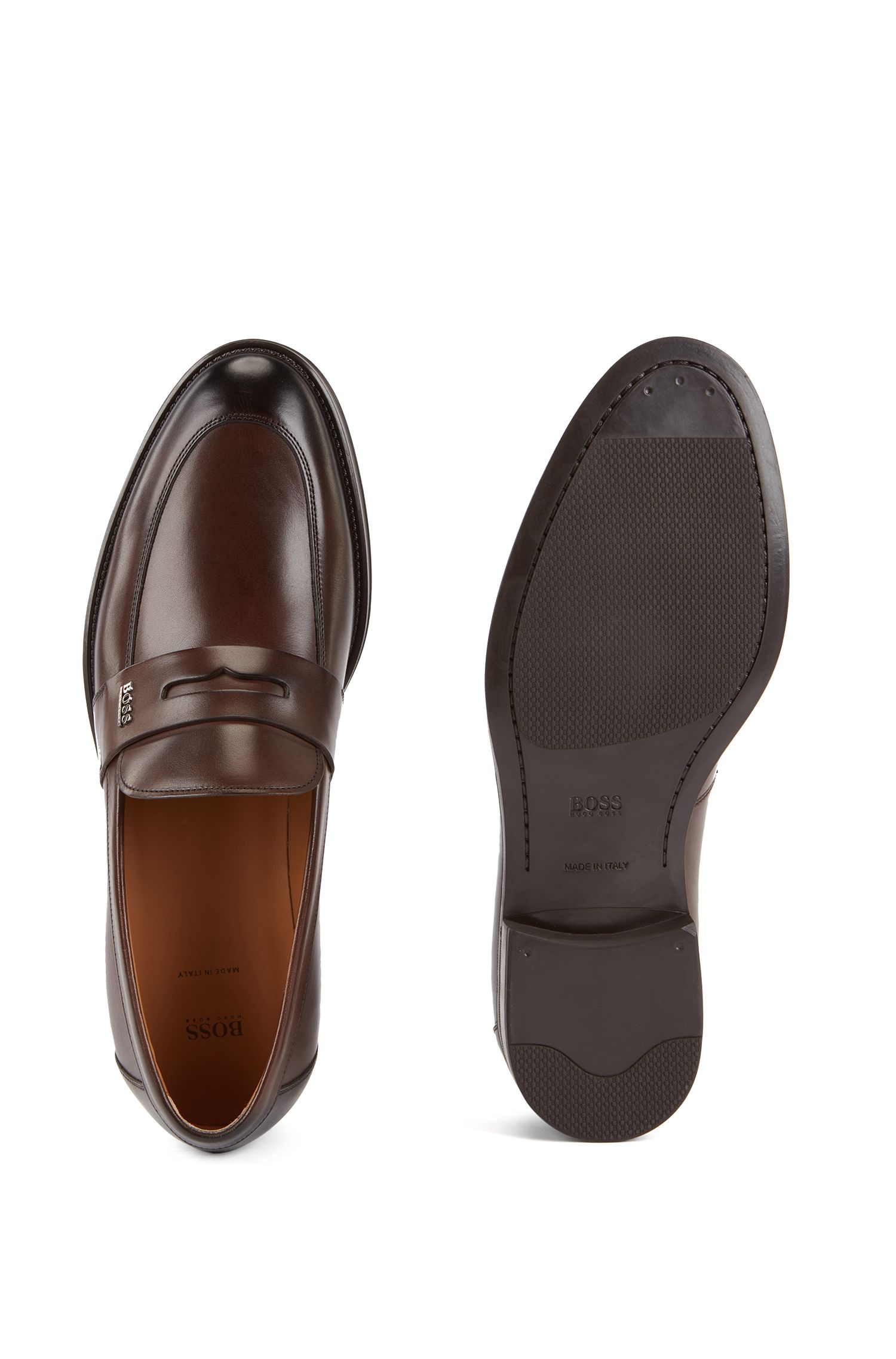 Business loafers in burnished calf leather, Dark Brown