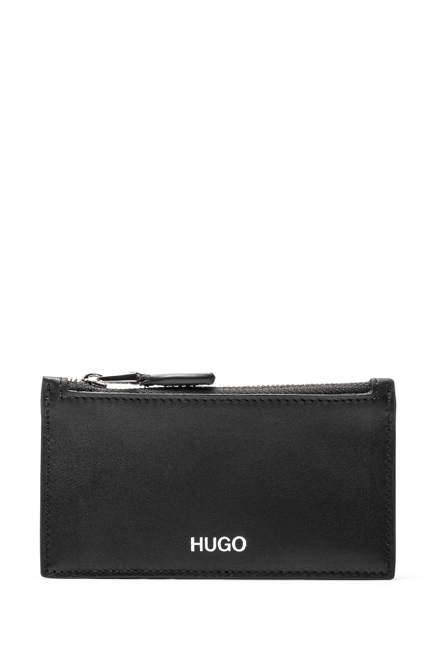 Nappa-leather card holder with zippered coin pocket, Black