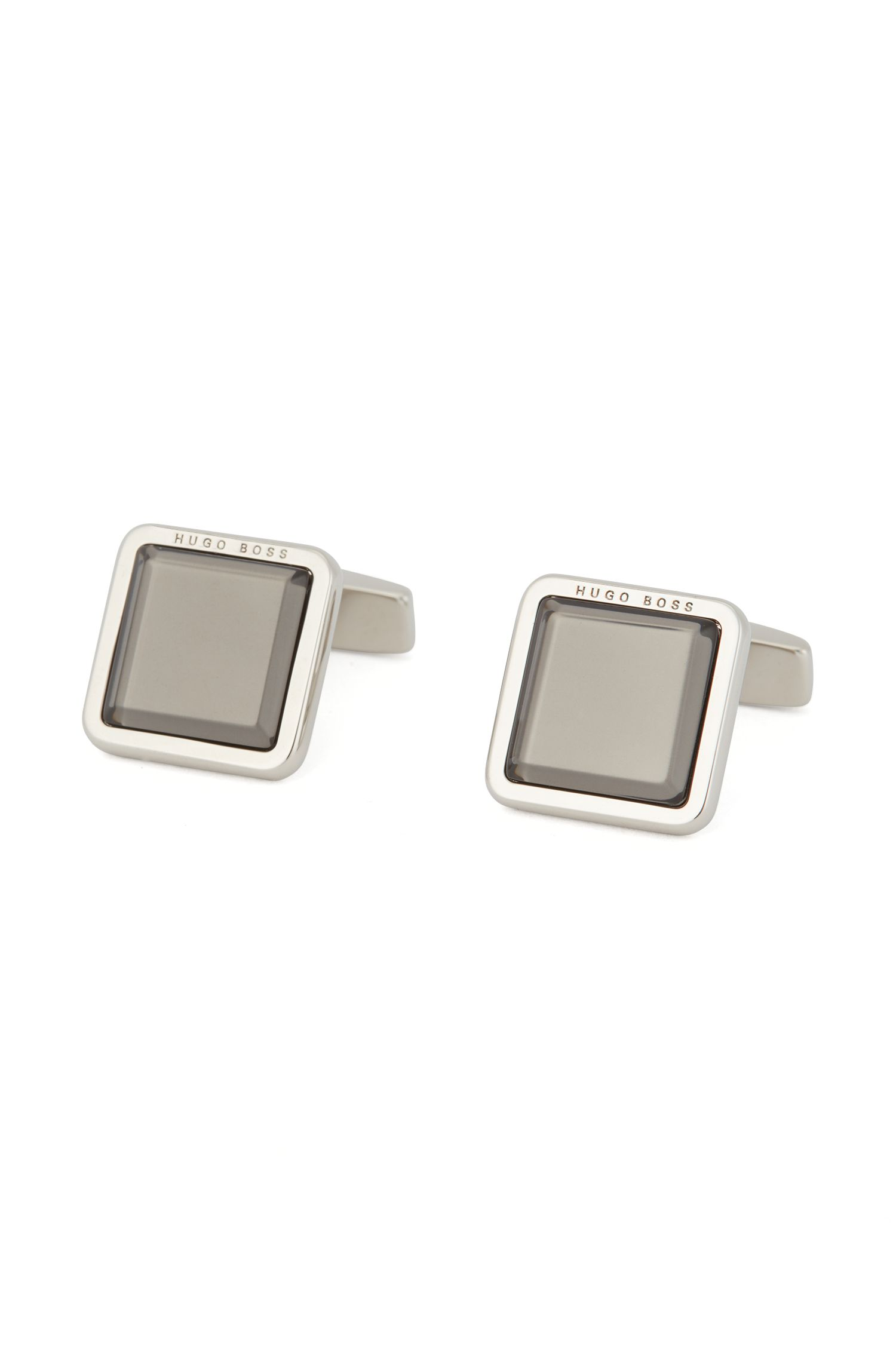 Hand-polished square cufflinks with raised enamel core, Dark Grey