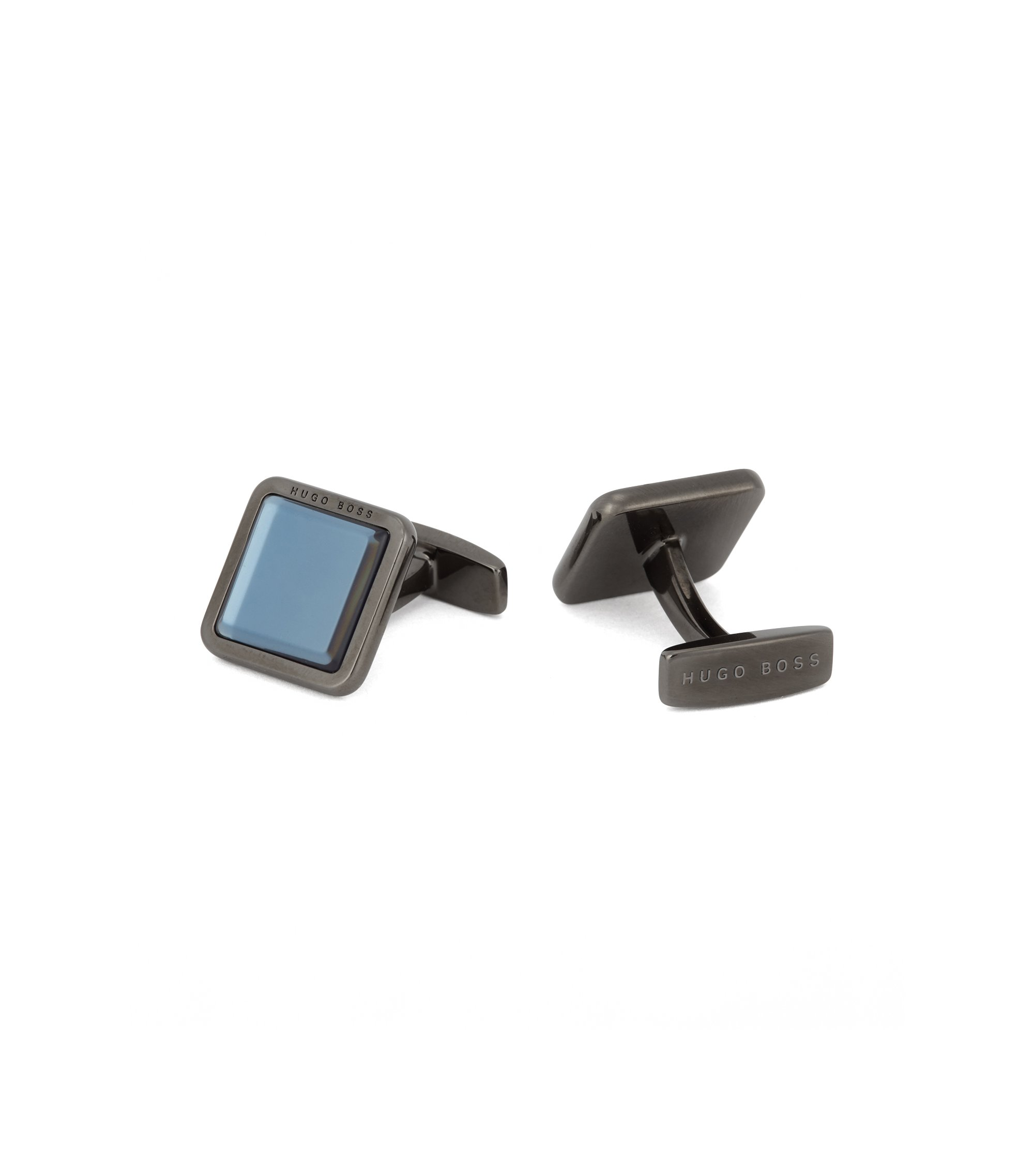 Hand-polished square cufflinks with raised enamel core, Dark Blue
