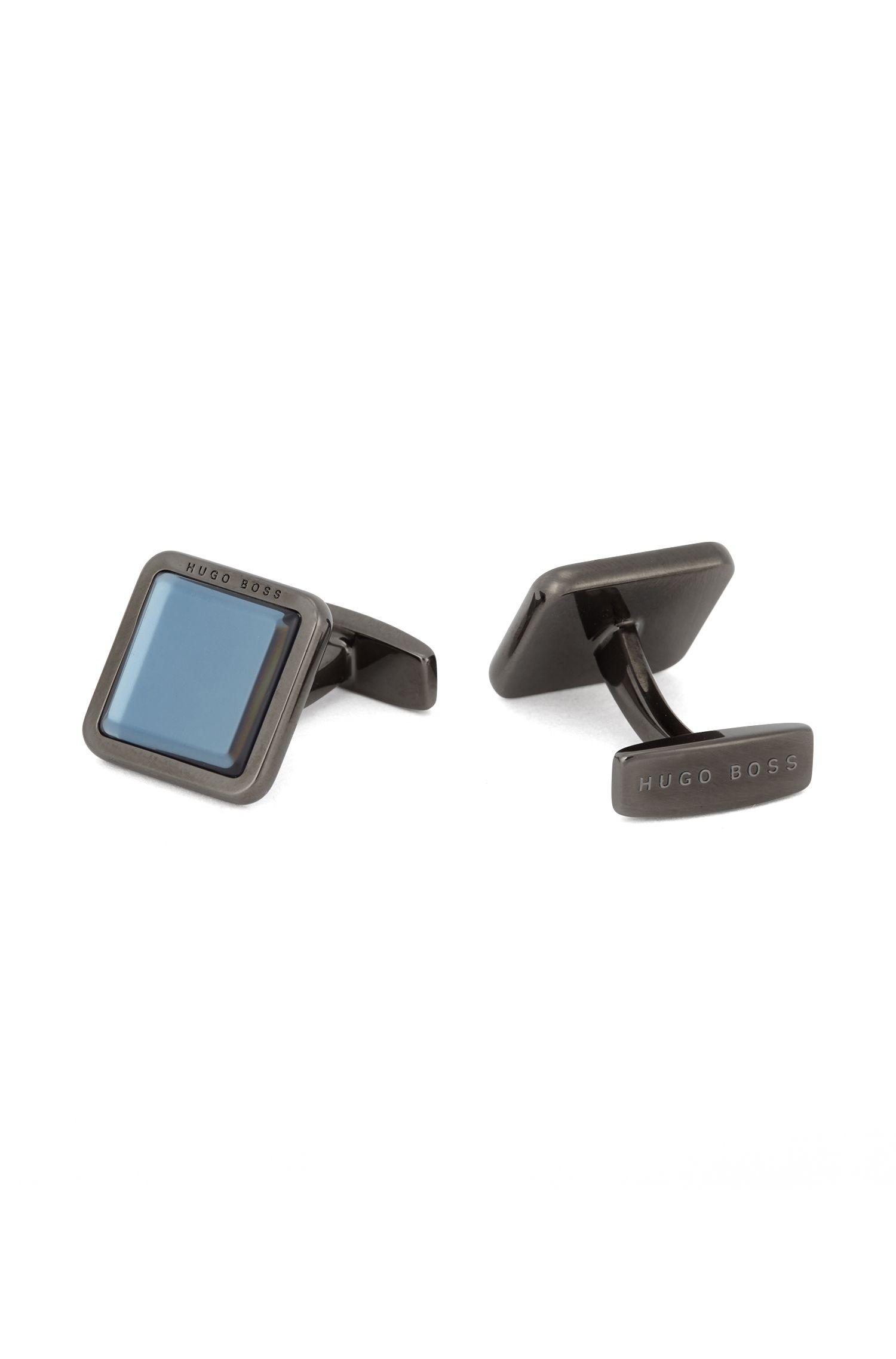 Hand-polished square cufflinks with raised enamel core, Dark Blue