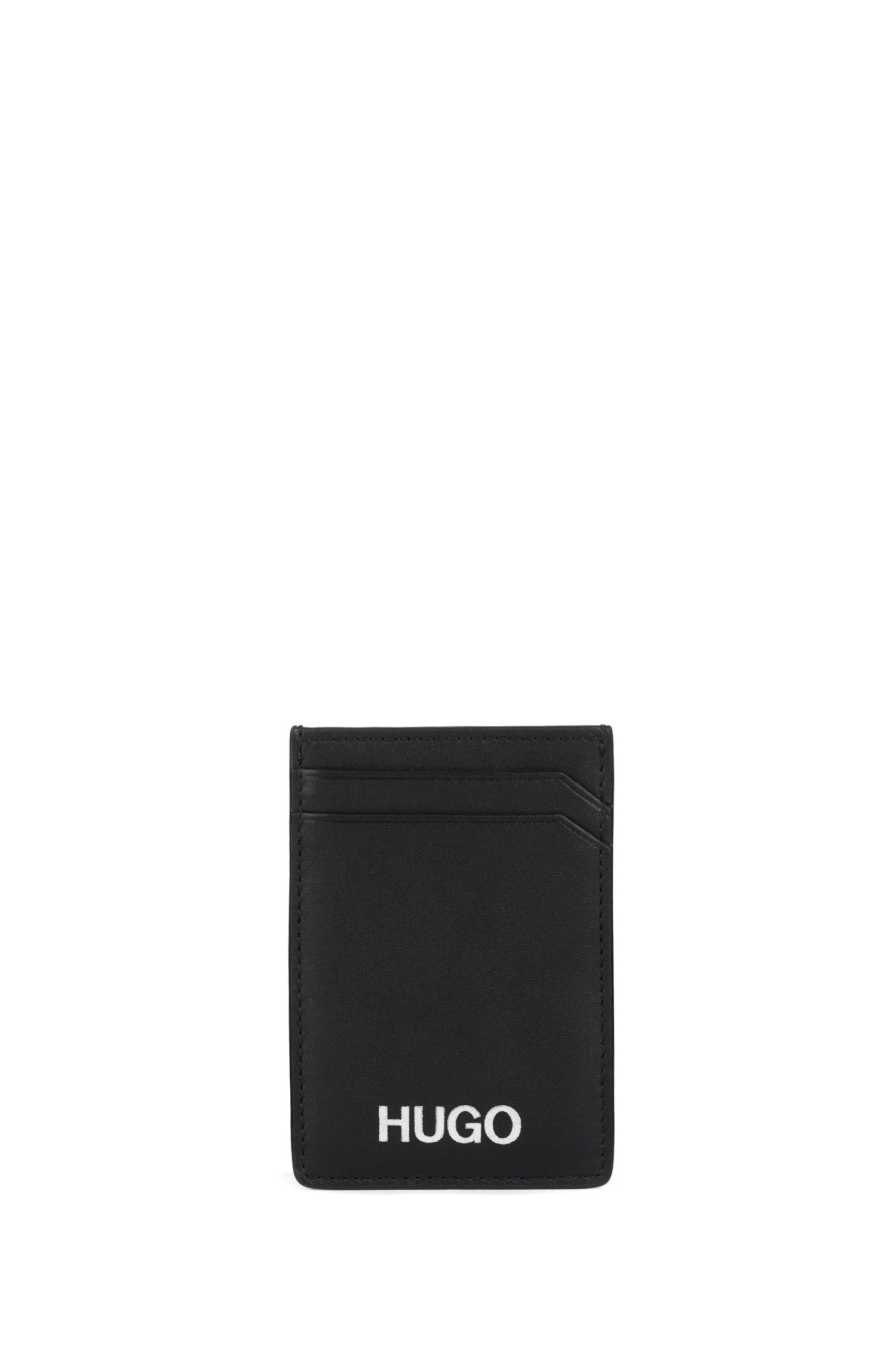 Leather card holder with money clip, Black