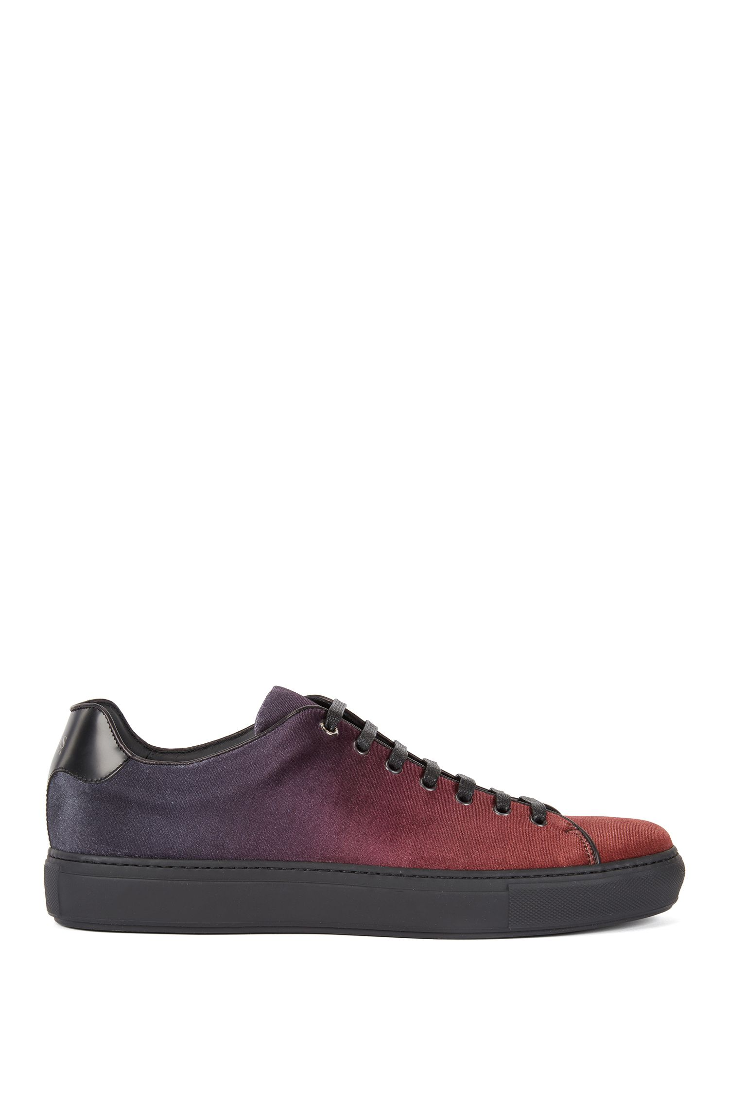 Tennis-inspired sneakers in dégradé Italian velvet, Red