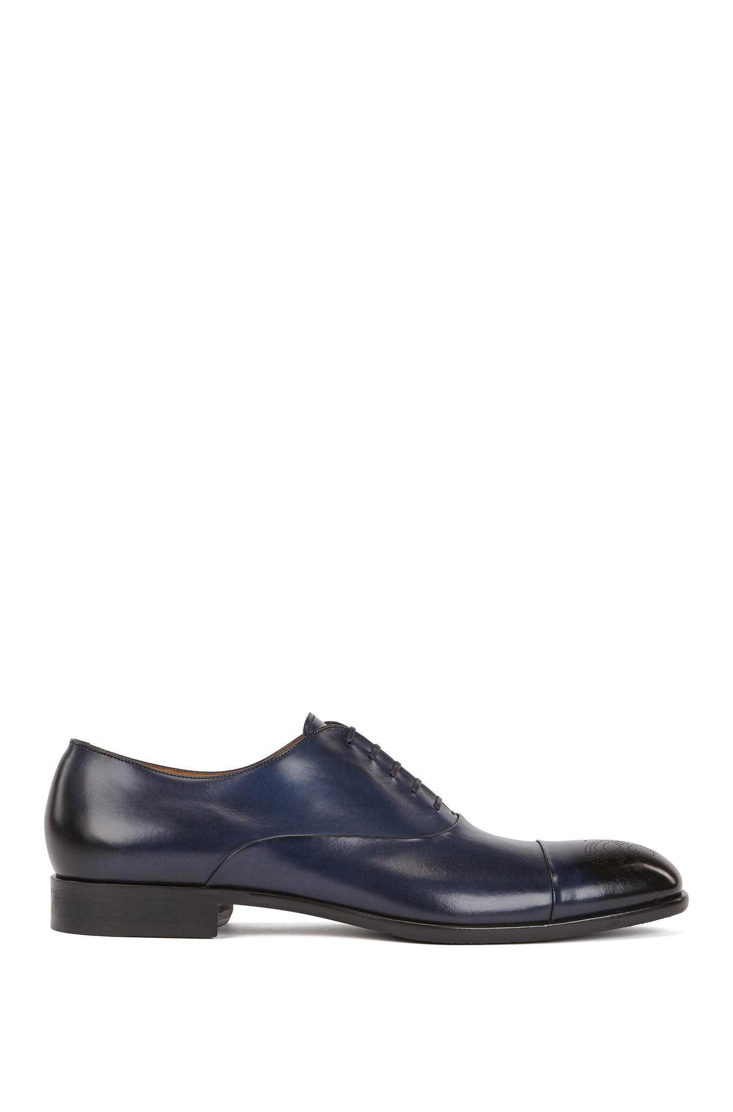 Burnished-leather Oxford shoes with laser-cut brogue pattern, Dark Blue