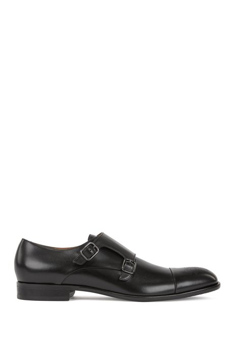 Burnished-leather shoes with double monk strap, Black