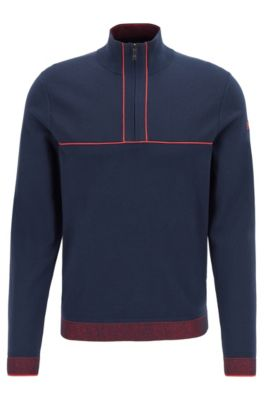 Zipper-neck knitted sweater with piping details, Dark Blue