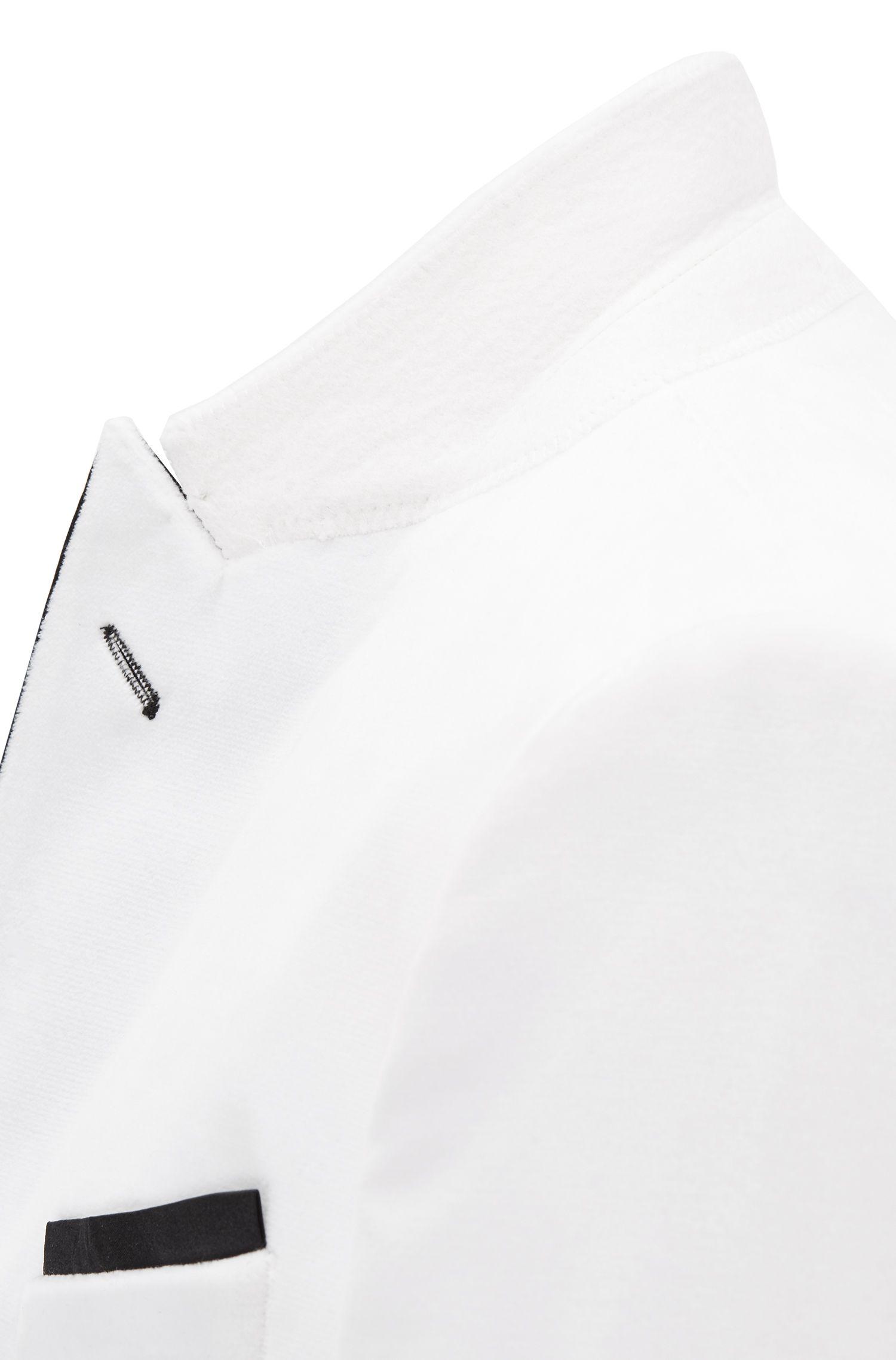 Slim-fit jacket in velvet with contrast silk lapels, Natural