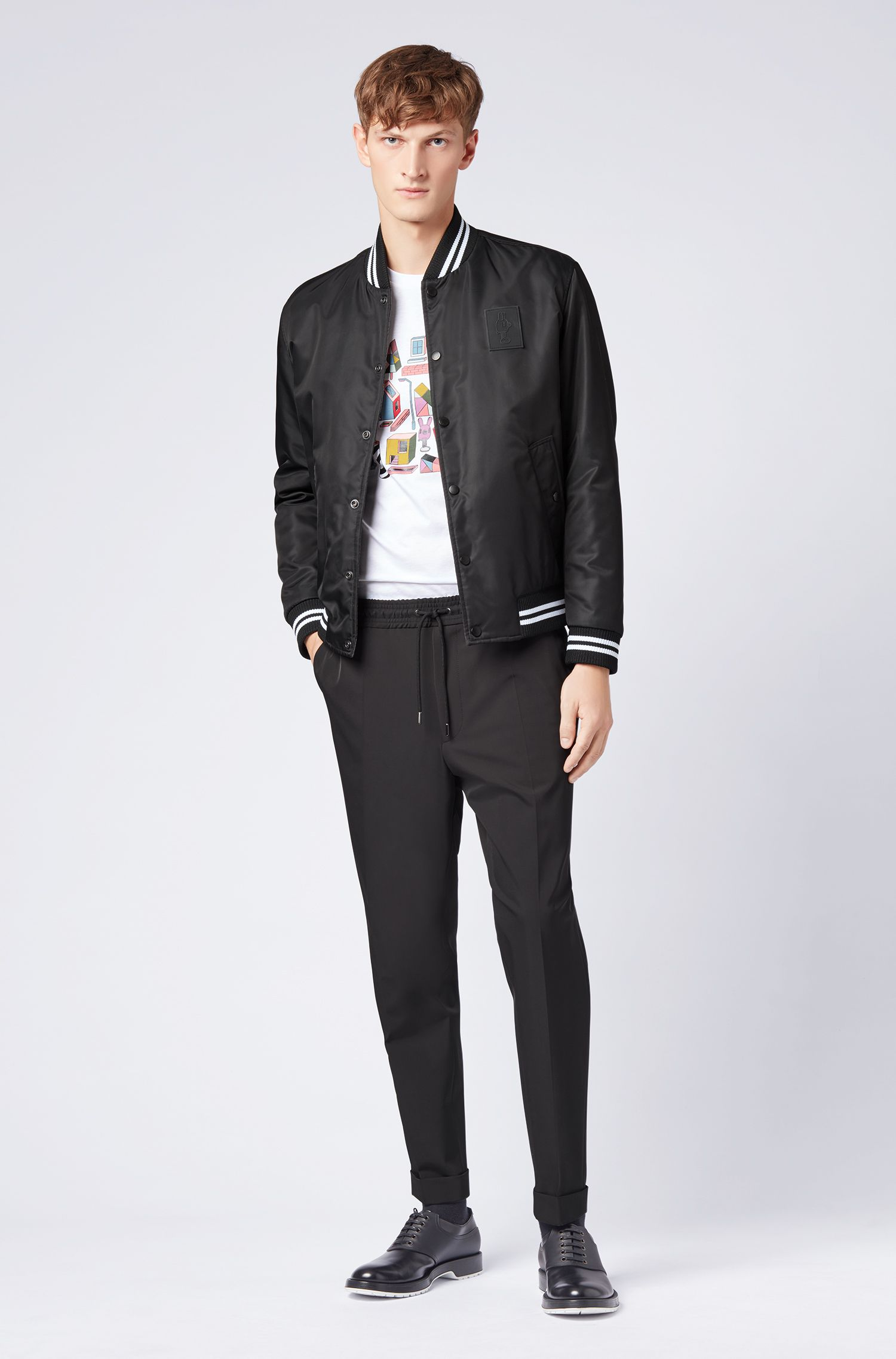 Limited-edition reversible satin bomber jacket with Jeremyville details, Black