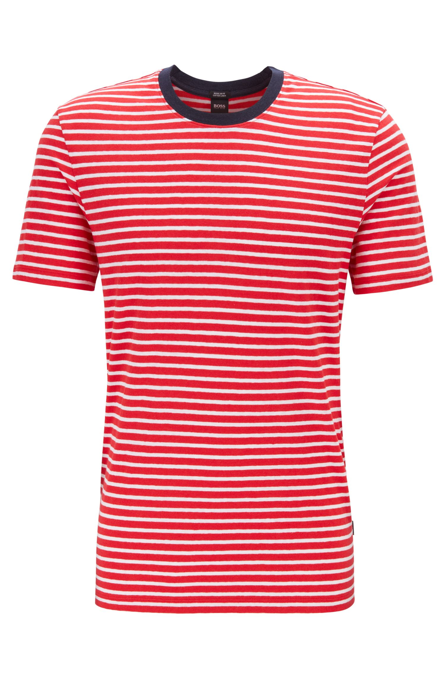Crew-neck T-shirt in a striped linen-cotton blend, Red