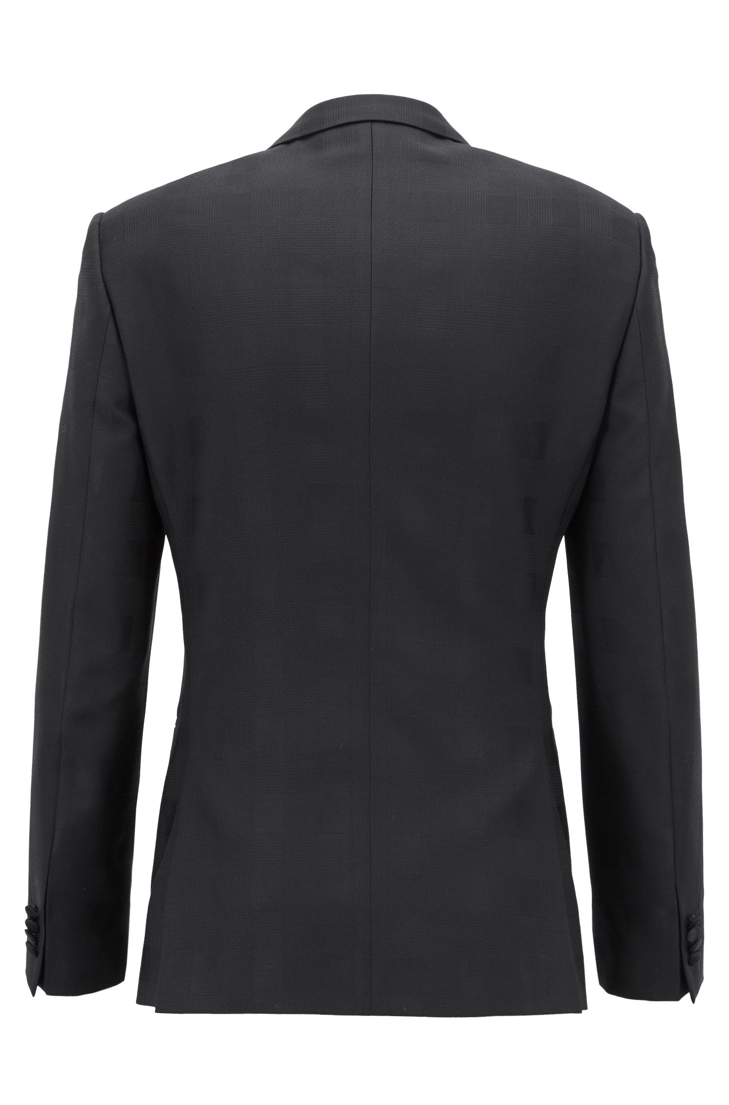 Slim-fit dinner jacket in tonal-checked virgin wool, Black