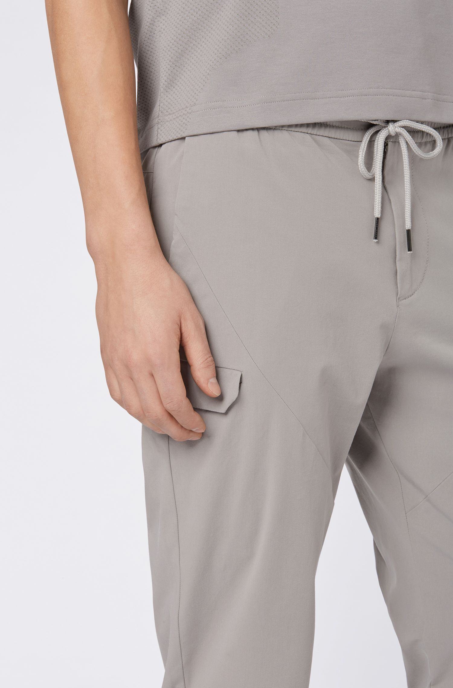 Tapered-fit pants in stretch-cotton gabardine, Grey