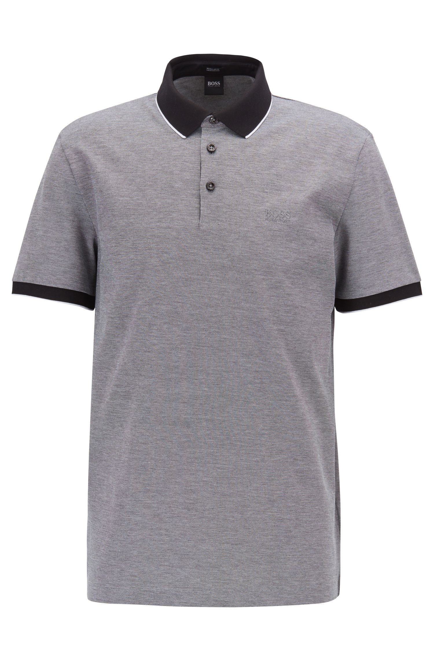 Regular-fit polo shirt in two-tone Oxford piqué, Black
