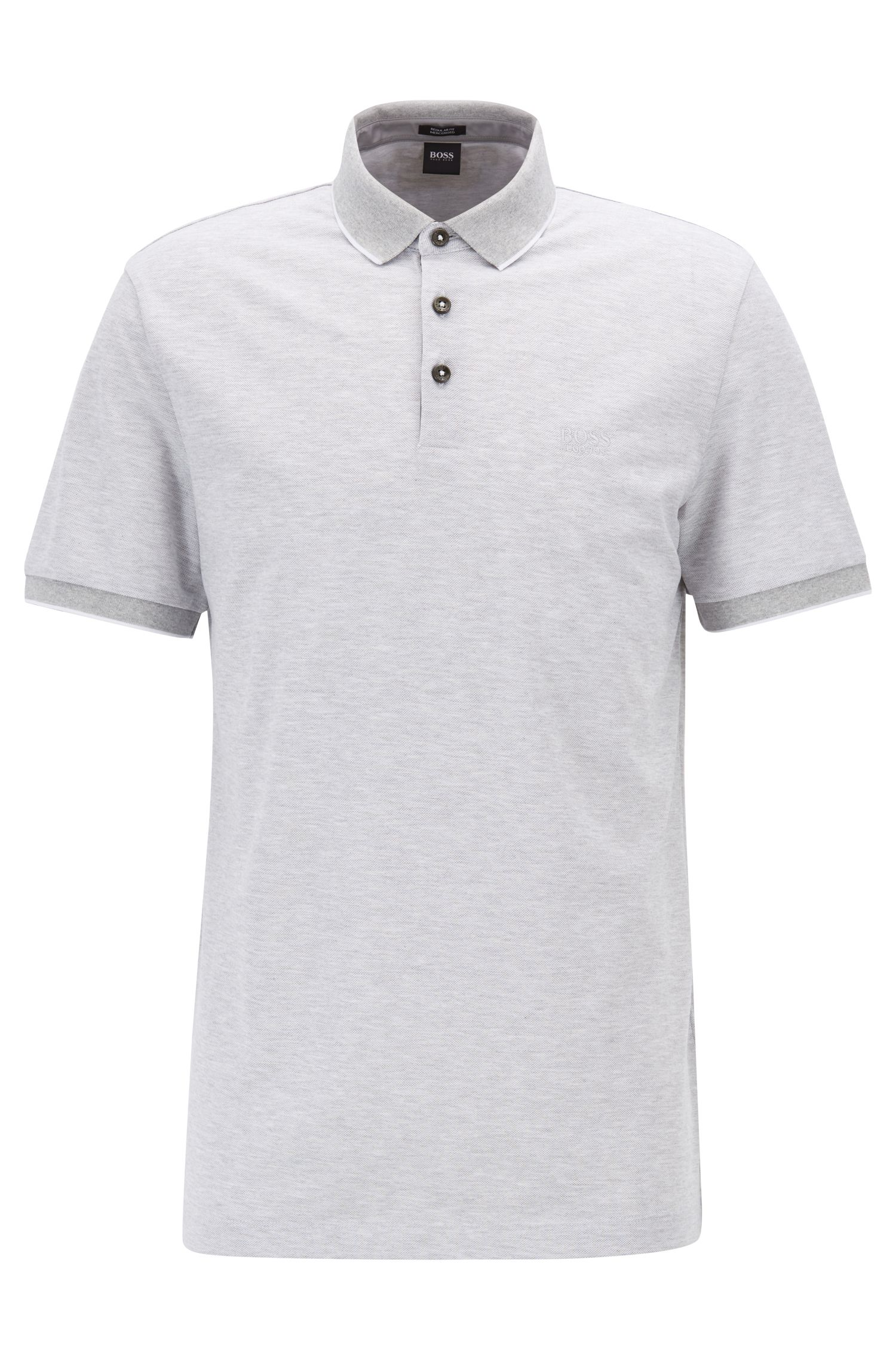 Regular-fit polo shirt in two-tone Oxford piqué, Open Grey
