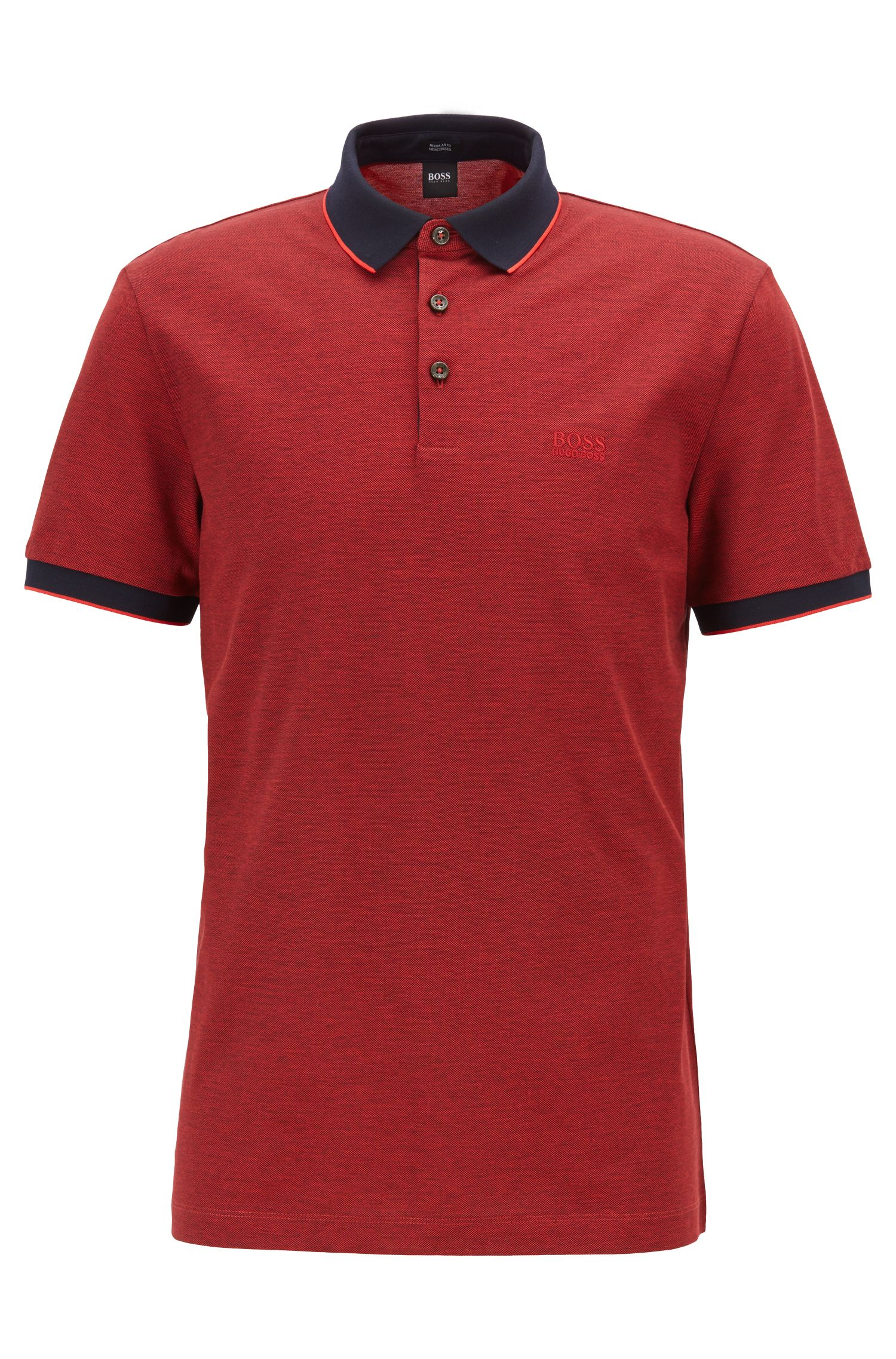 Regular-fit polo shirt in two-tone Oxford piqué, Red