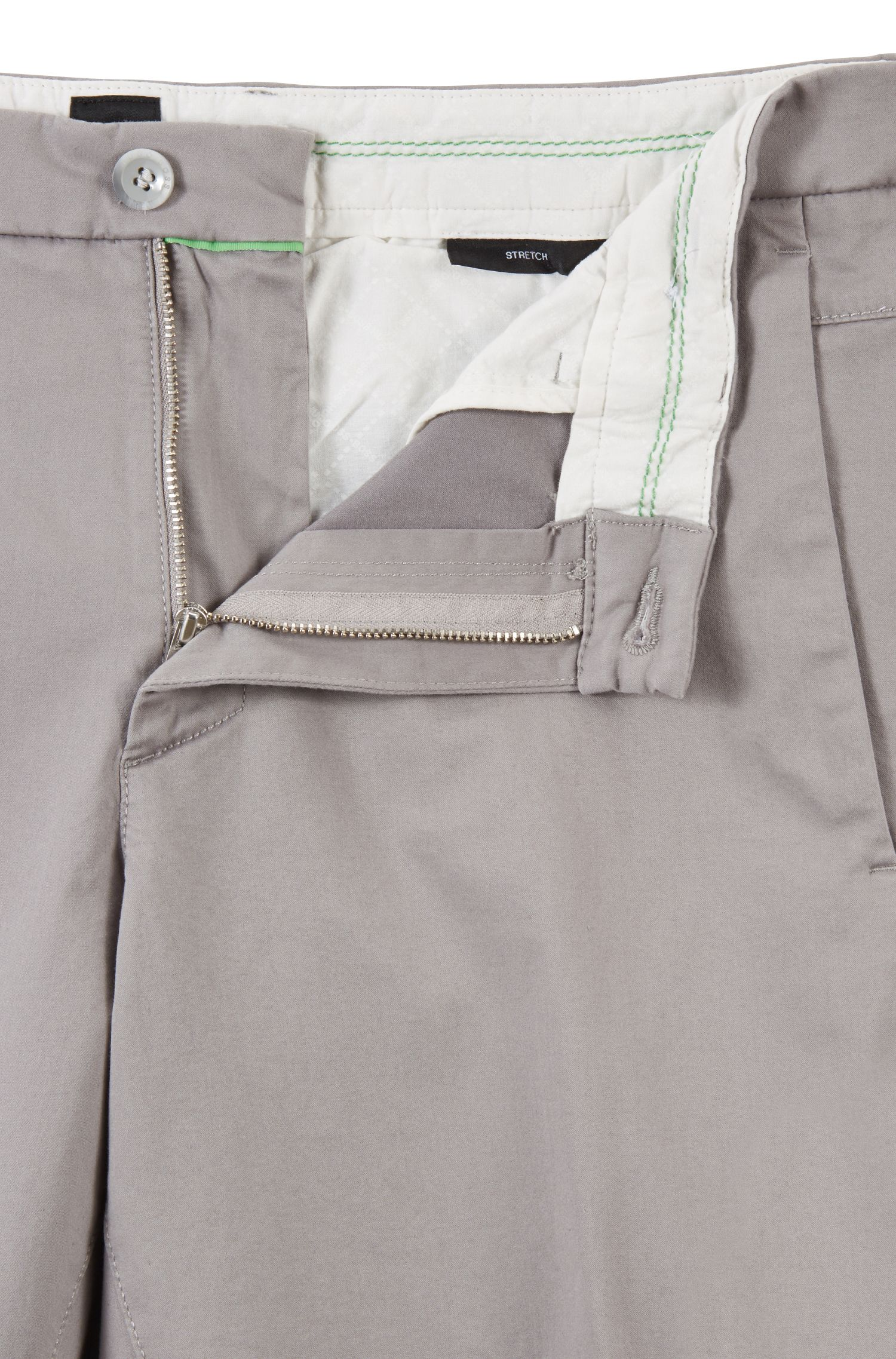 Slim-fit shorts in satin-touch stretch fabric, Grey