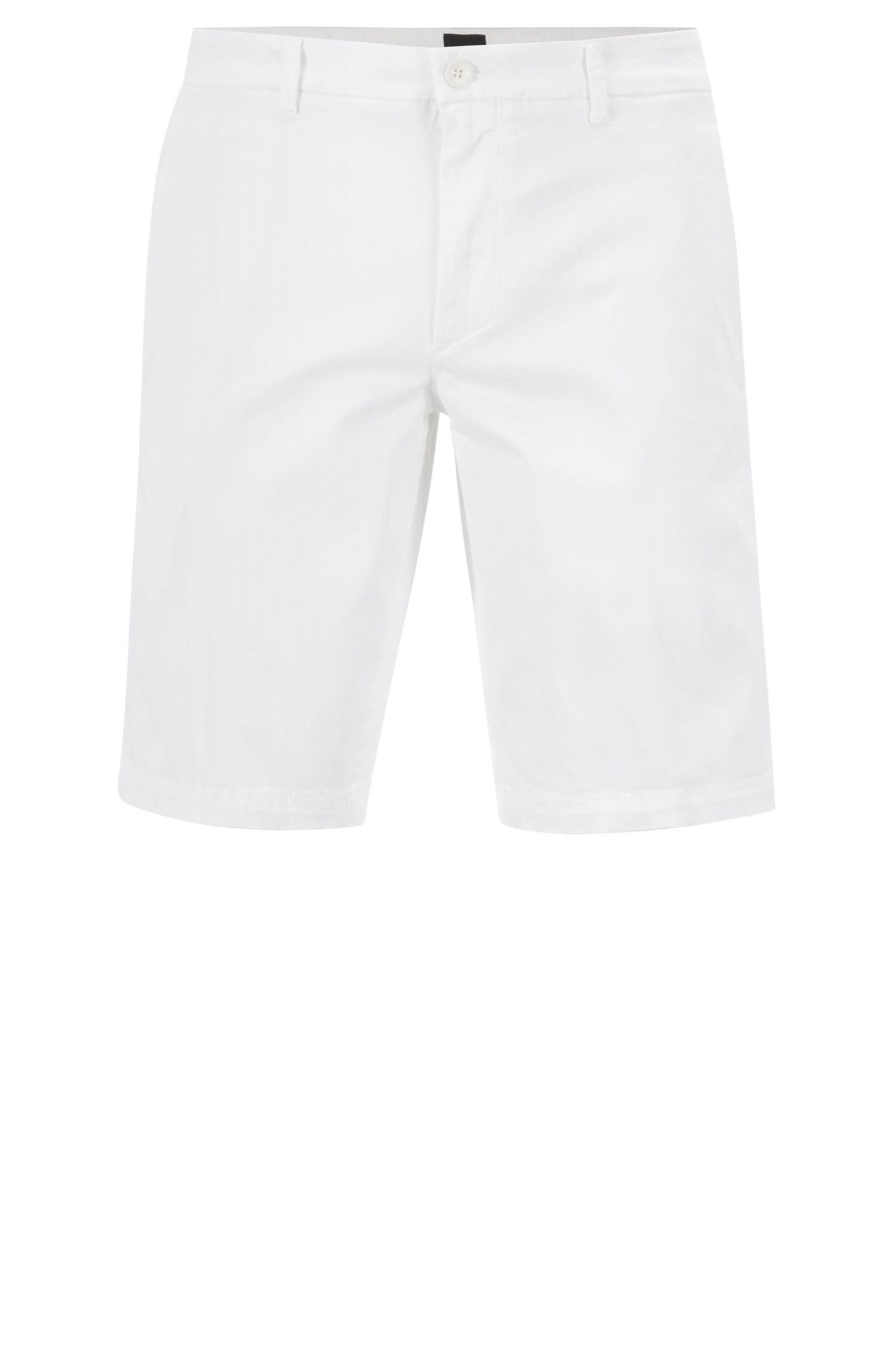 Slim-fit shorts in satin-touch stretch fabric, White