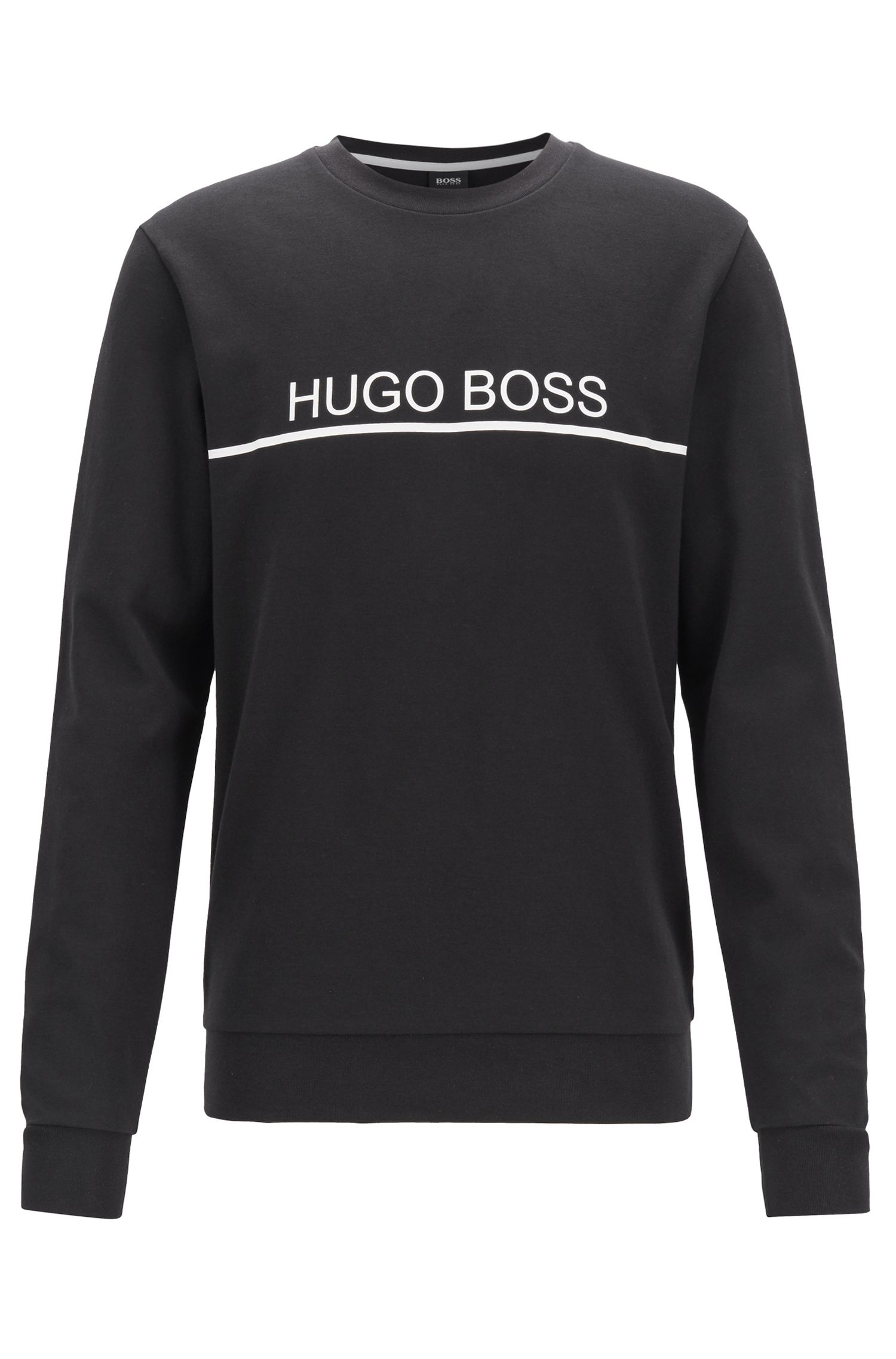 Logo-print loungewear sweatshirt in cotton-blend piqué , Black