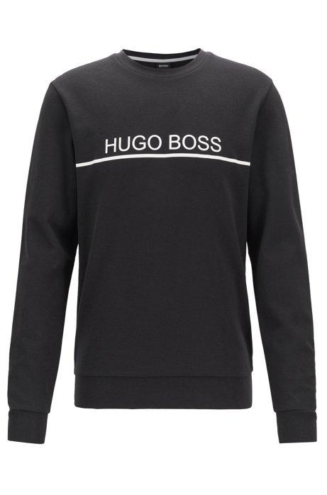Logo-print loungewear sweatshirt in cotton-blend piqué , Black