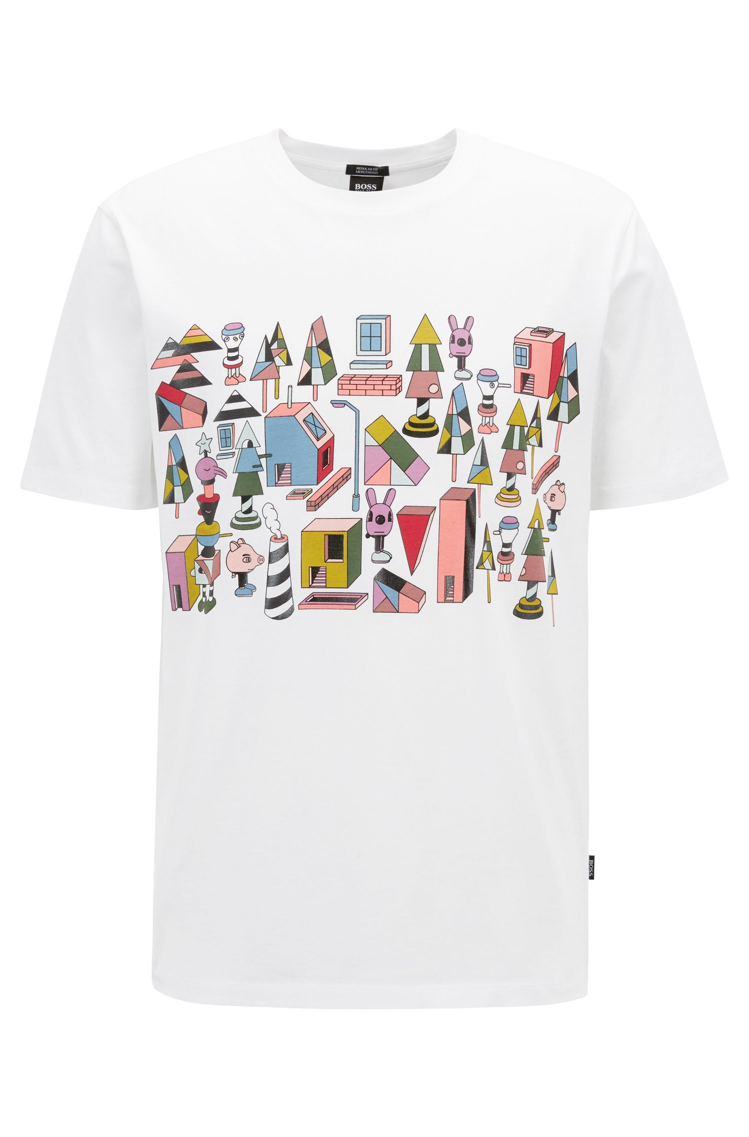 Limited-edition T-shirt in mercerized cotton with colorful Jeremyville print, White