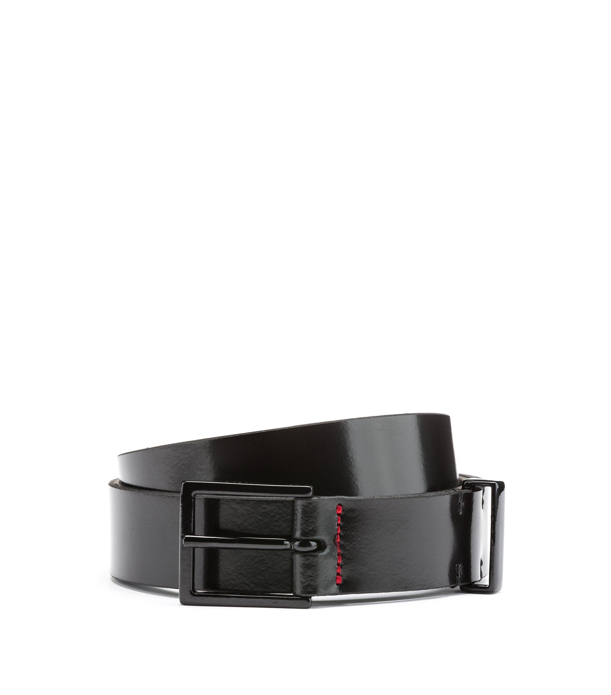Smooth-leather belt with black-varnished hardware, Black