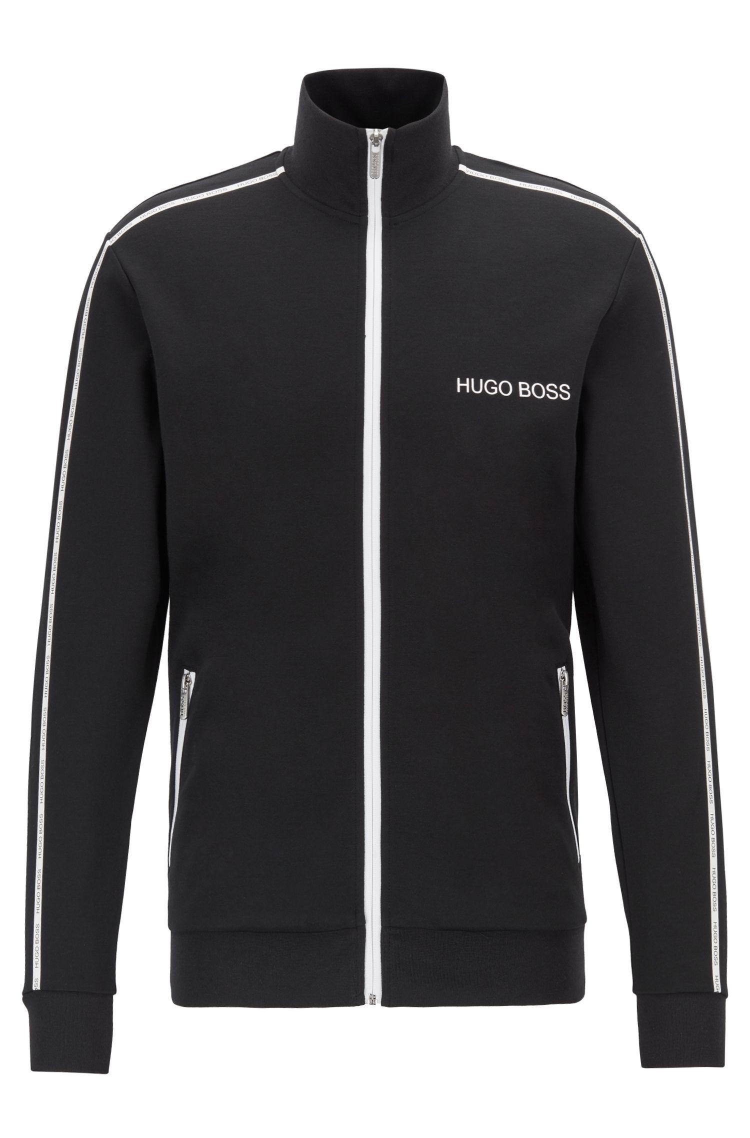 Regular-fit loungewear jacket with logo taping, Black