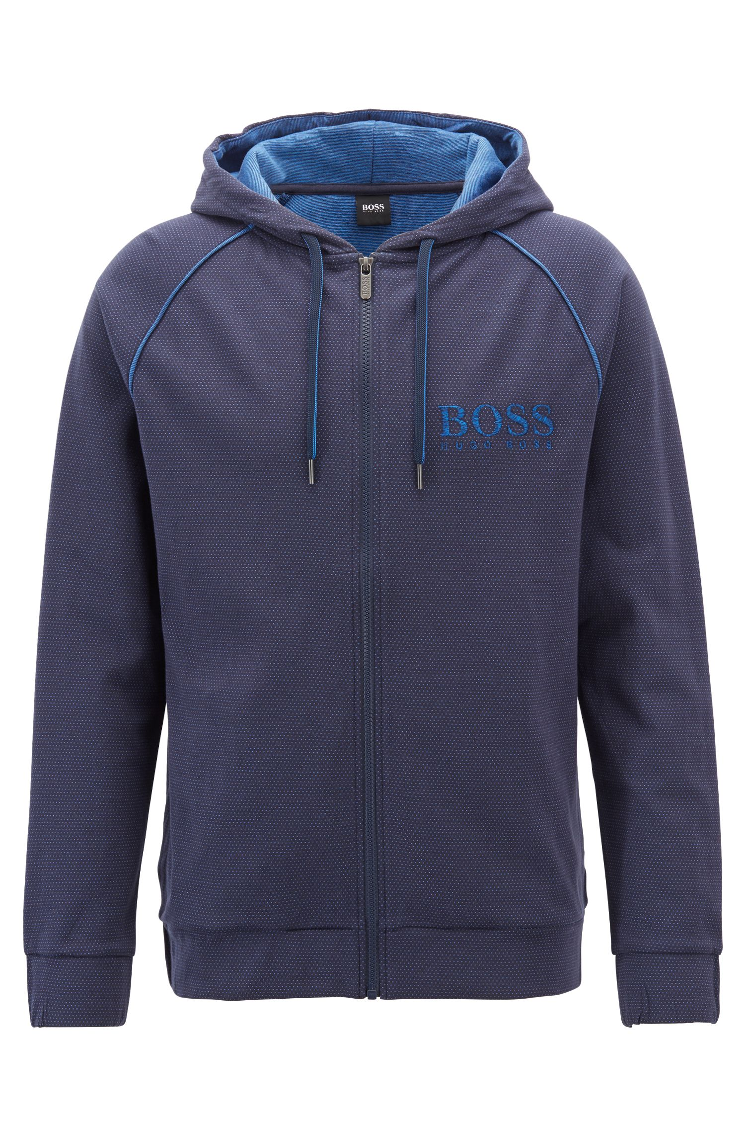 Hooded loungewear jacket in cotton with logo embroidery, Blue