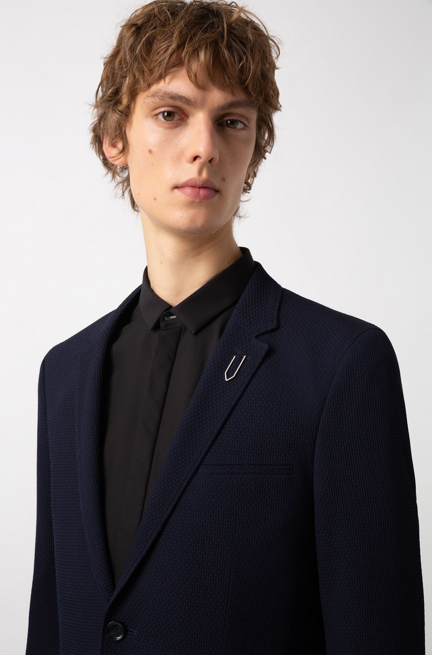 Extra-slim-fit jacket with paper-clip-inspired pin, Dark Blue