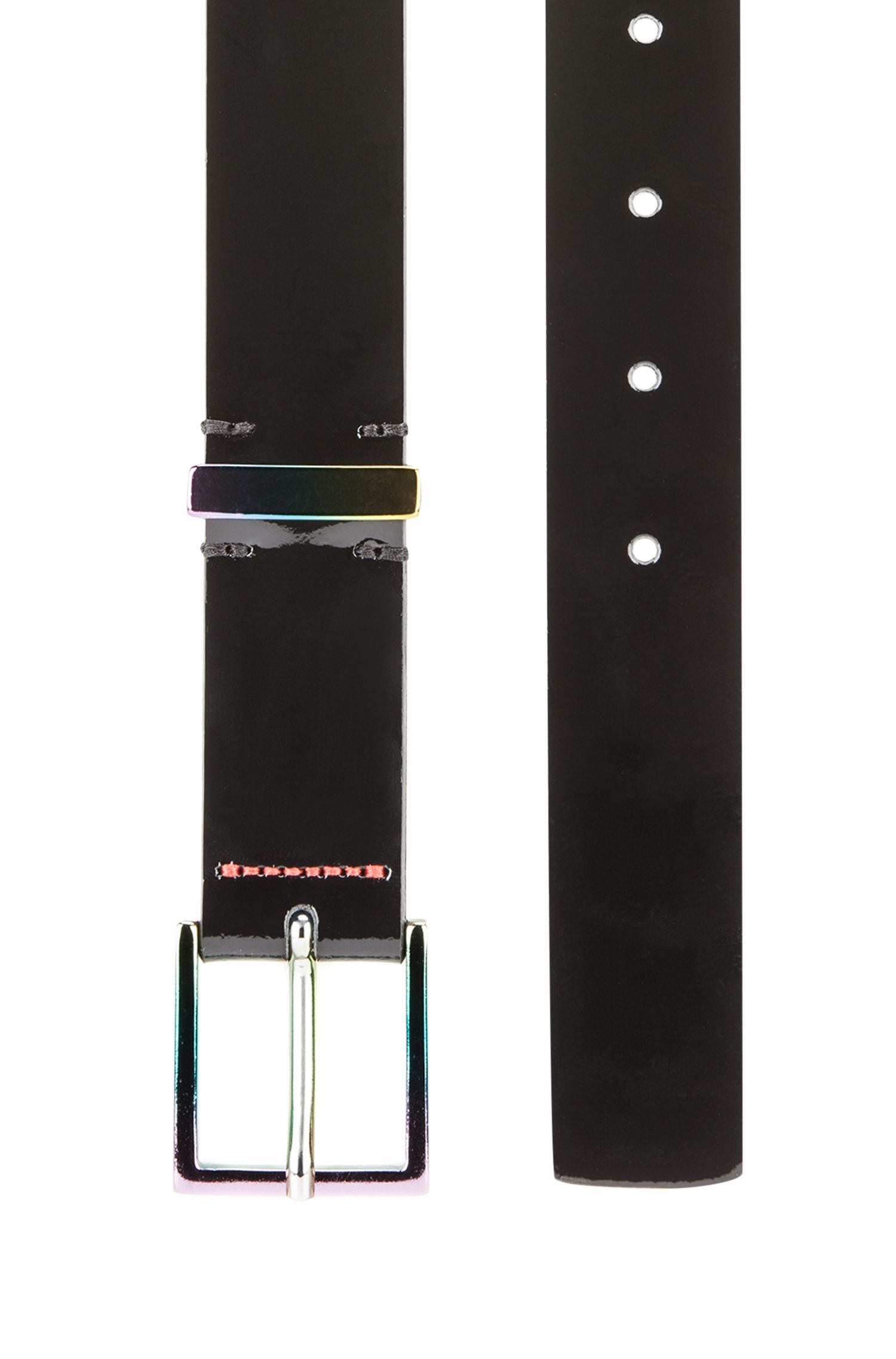 Pin-buckle belt in patent leather with anodised hardware, Black
