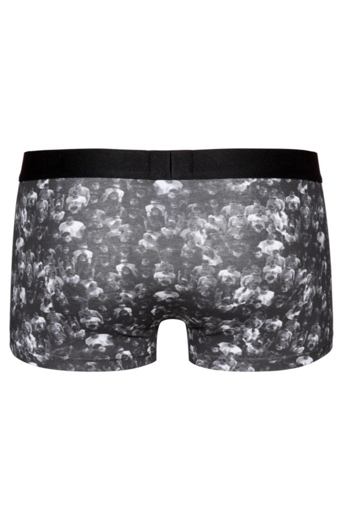 Two-pack of printed and plain stretch-cotton trunks