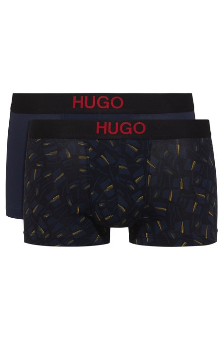 Two-pack of printed and plain stretch-cotton trunks, Open Blue